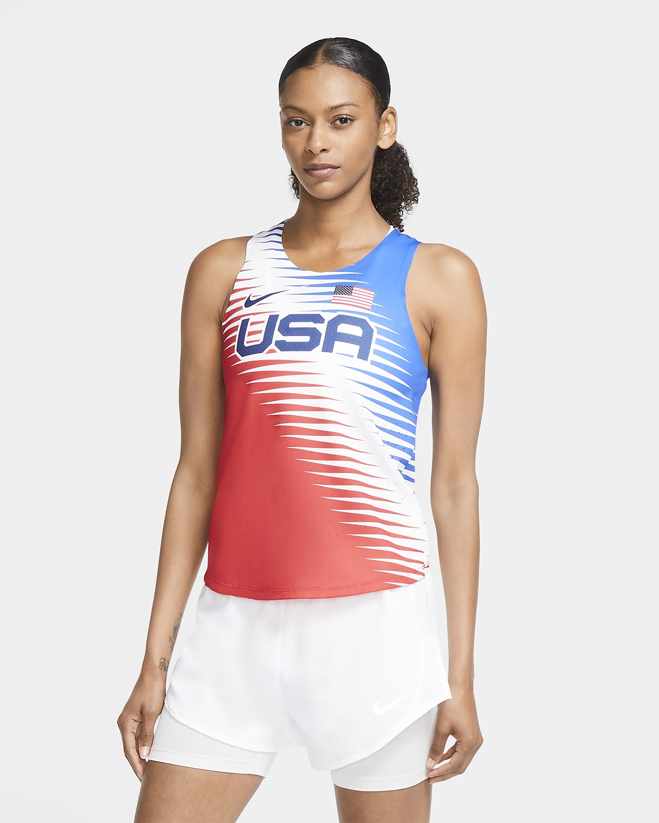 Camiseta sin mangas de running para mujer Nike Dri-FIT ADV Team USA AeroSwift