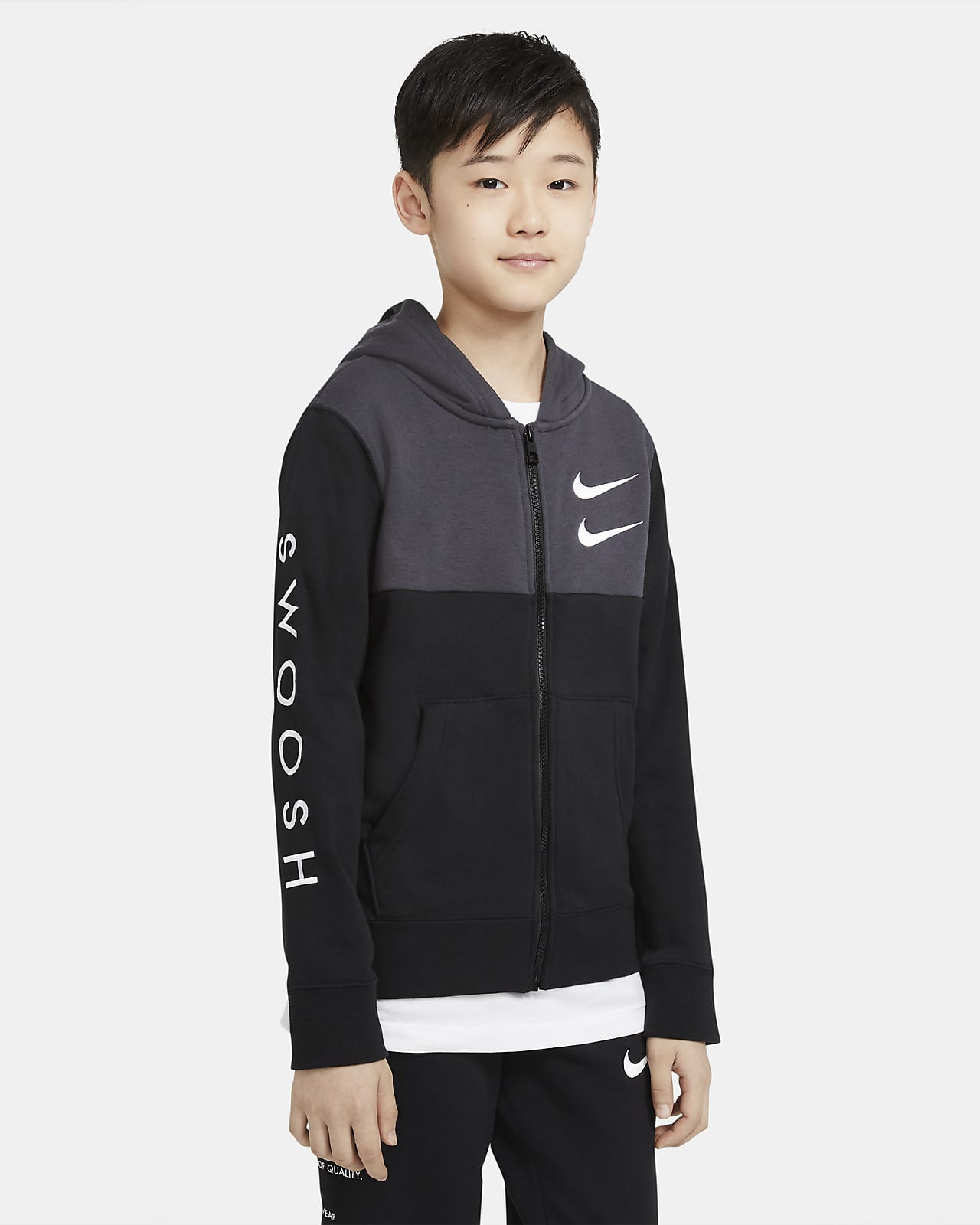 Nike Sportswear Swoosh hosszú cipzáras, kapucnis pulóver nagyobb gyerekeknek (fiúk)
