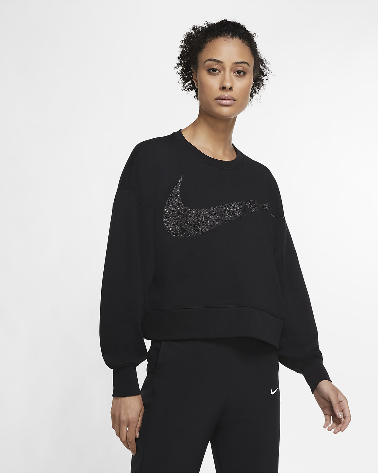 Nike Dri-FIT Get Fit Fleece Parıltılı Kadın Antrenman Üstü