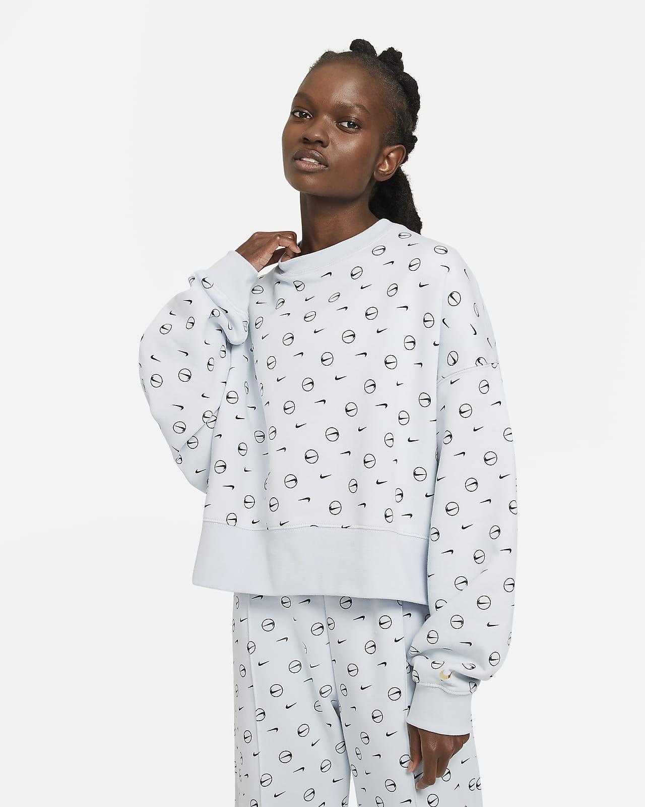 Nike Sportswear Baskılı Fleece Kadın Crew Üstü