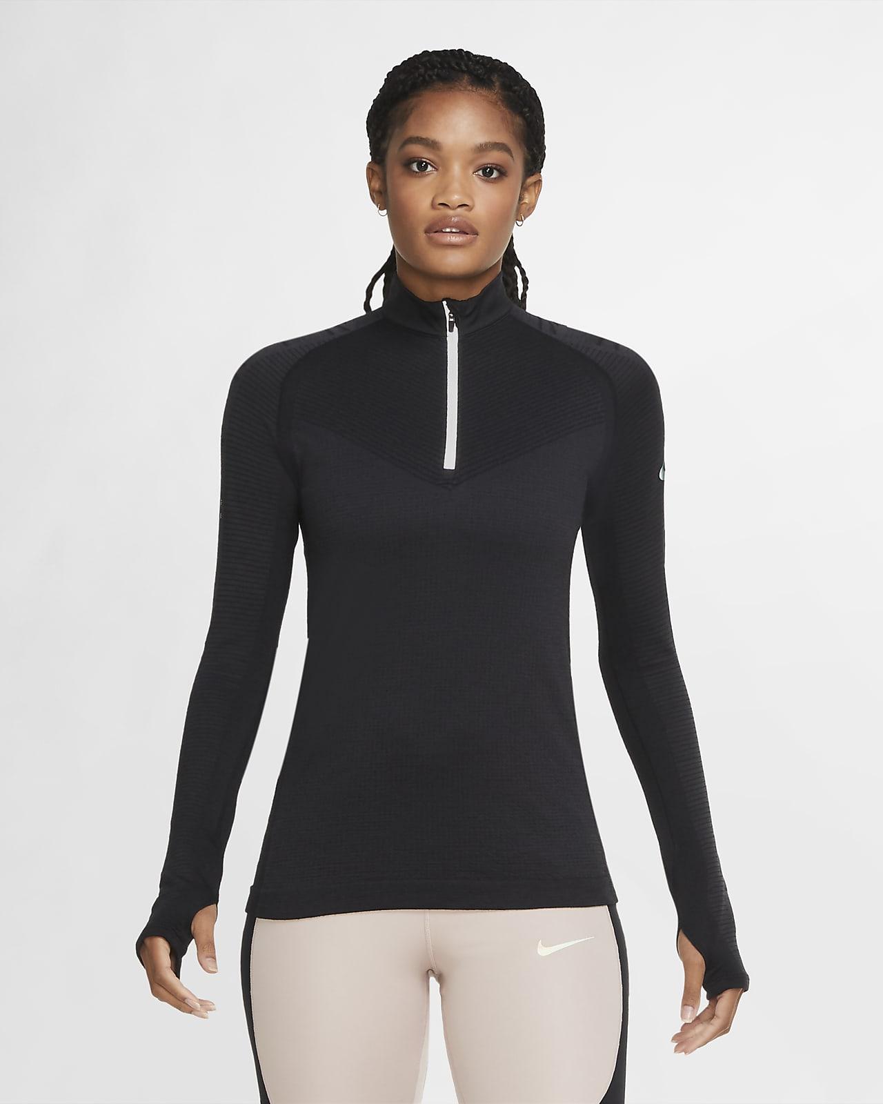 Löpartröja i ull med halv dragkedja Nike Run Division för kvinnor