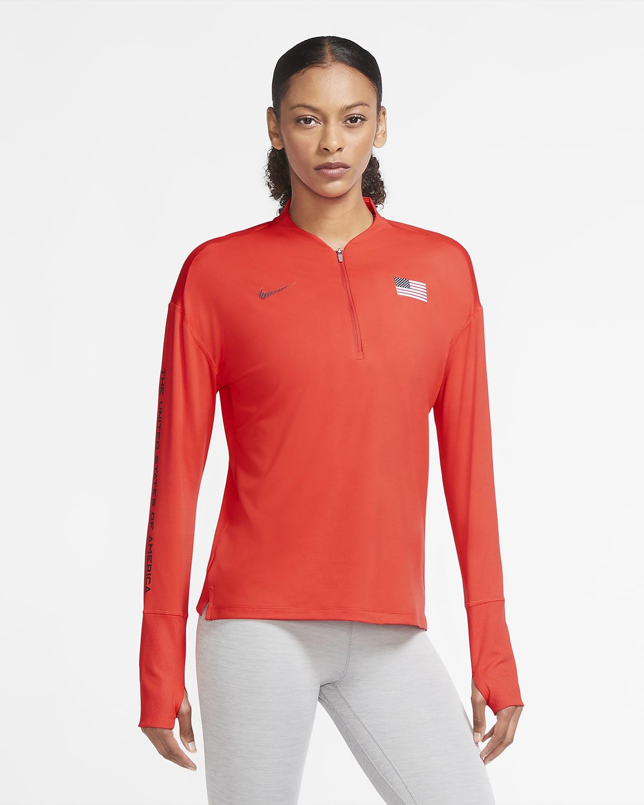 Γυναικεία μπλούζα για τρέξιμο με φερμουάρ στο μισό μήκος Nike Team ΗΠΑ