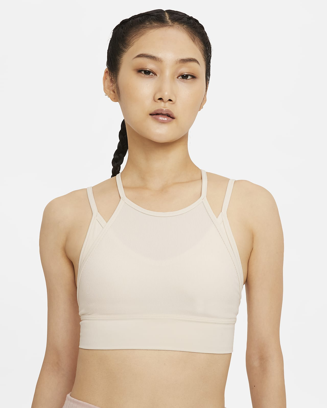 สปอร์ตบราผู้หญิงซัพพอร์ตระดับต่ำเสริมฟองน้ำ Nike Yoga Indy Novelty