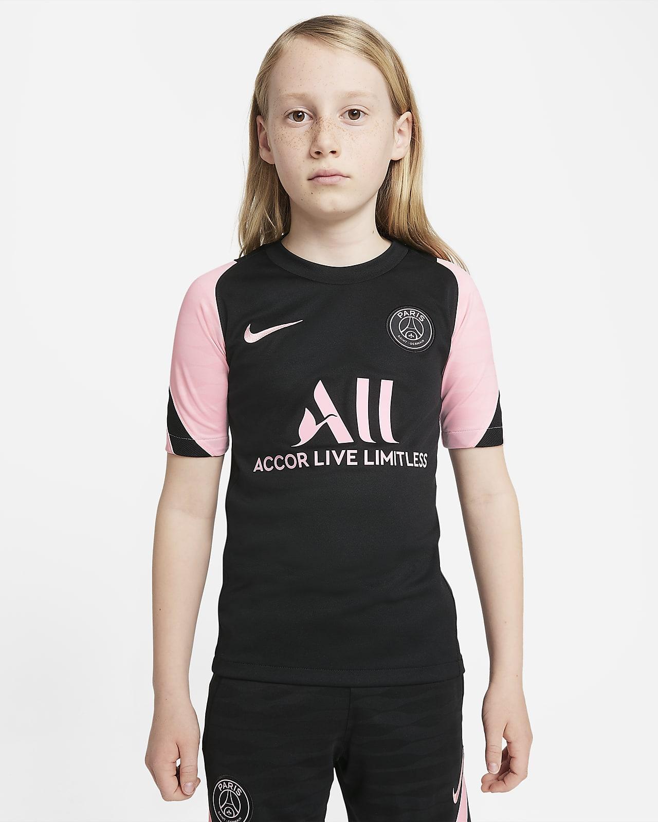 Paris Saint-Germain Strike Away Older Kids' Nike Dri-FIT Short-Sleeve Football Top