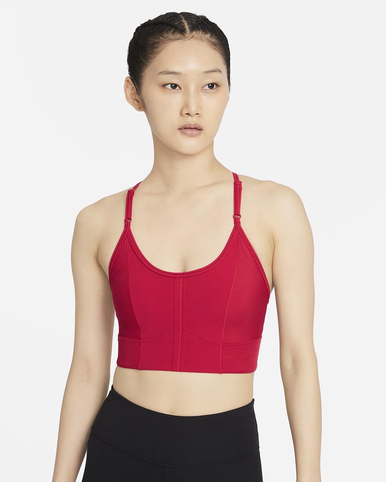 Nike Yoga Dri-FIT Indy Gewatteerde lange sport-bh met lichte ondersteuning