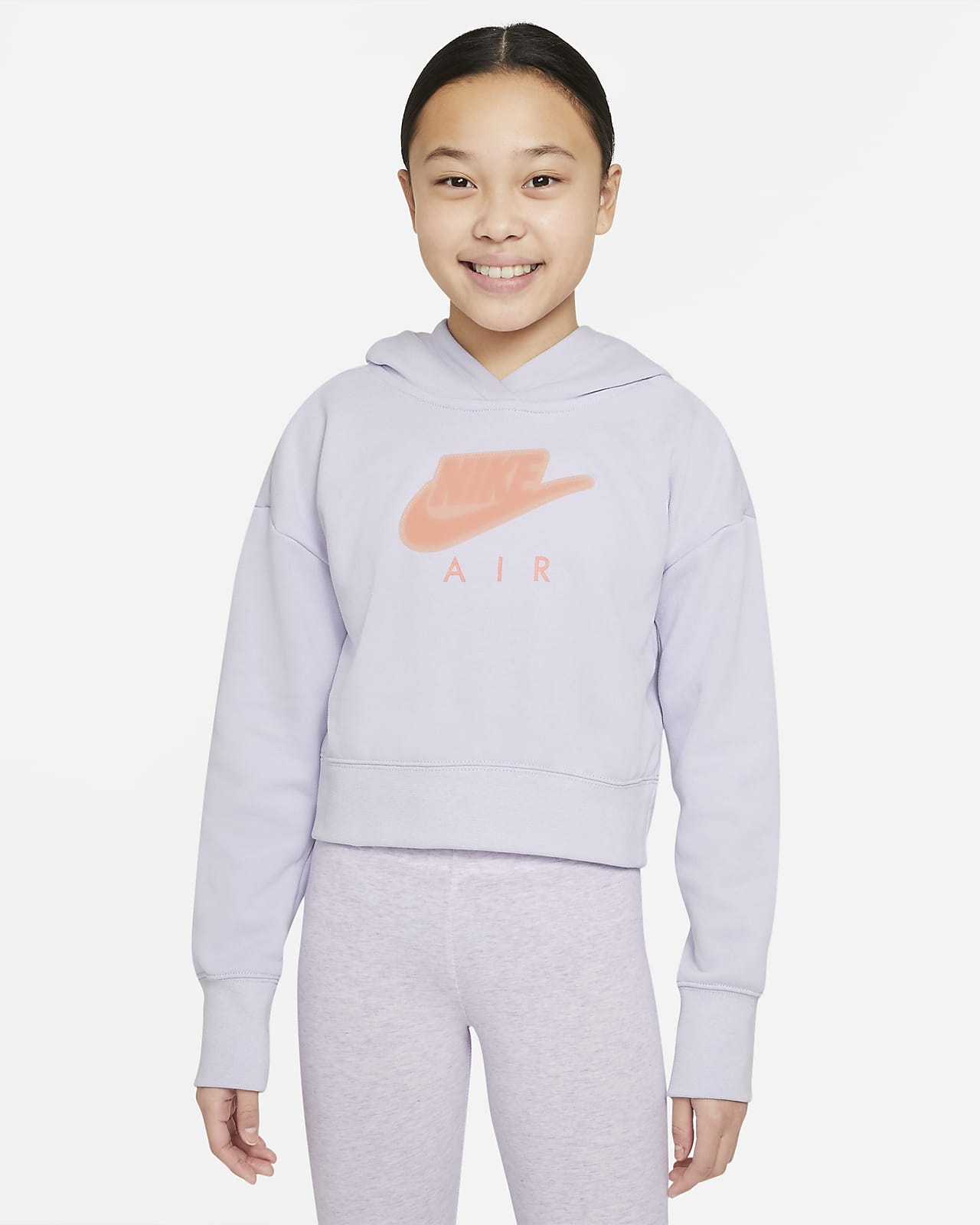 Nike Air Big Kids' (Girls') Cropped French Terry Hoodie
