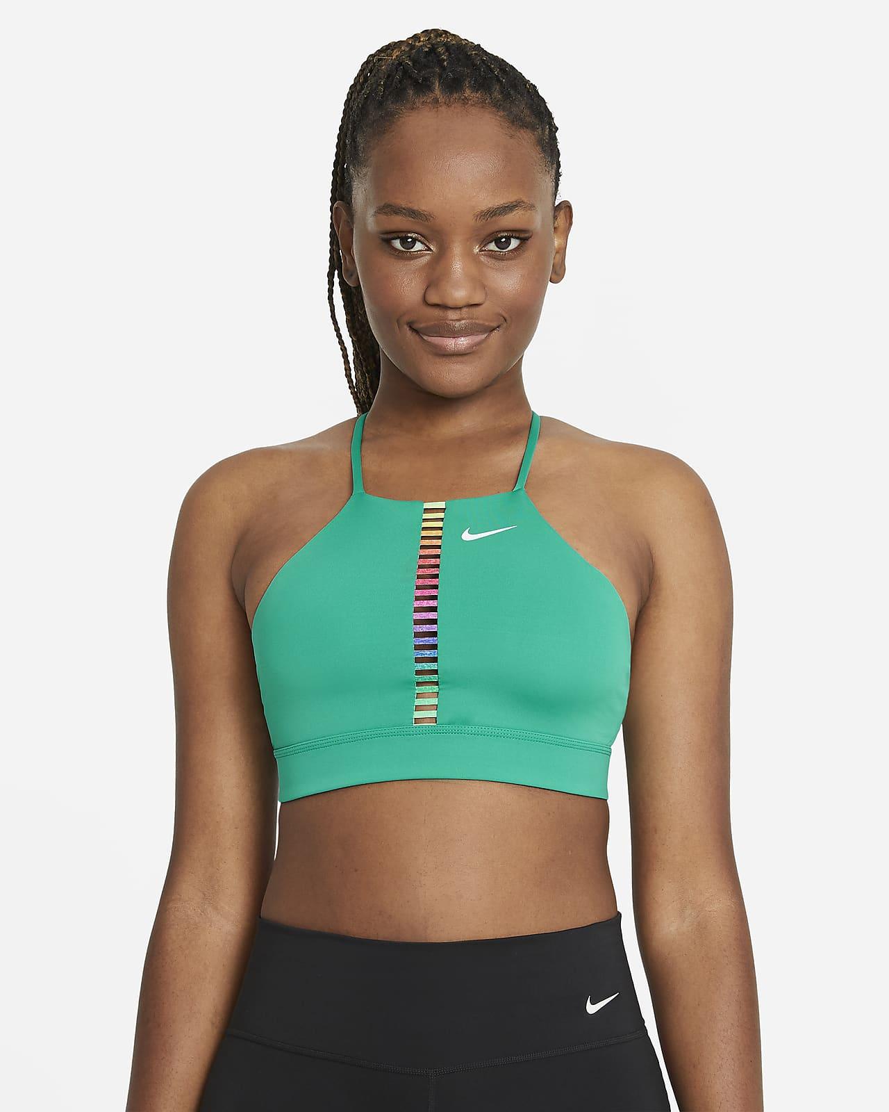 Bra deportivo de baja sujeción acolchado con cuello alto para mujer Nike Dri-FIT Indy Rainbow Ladder