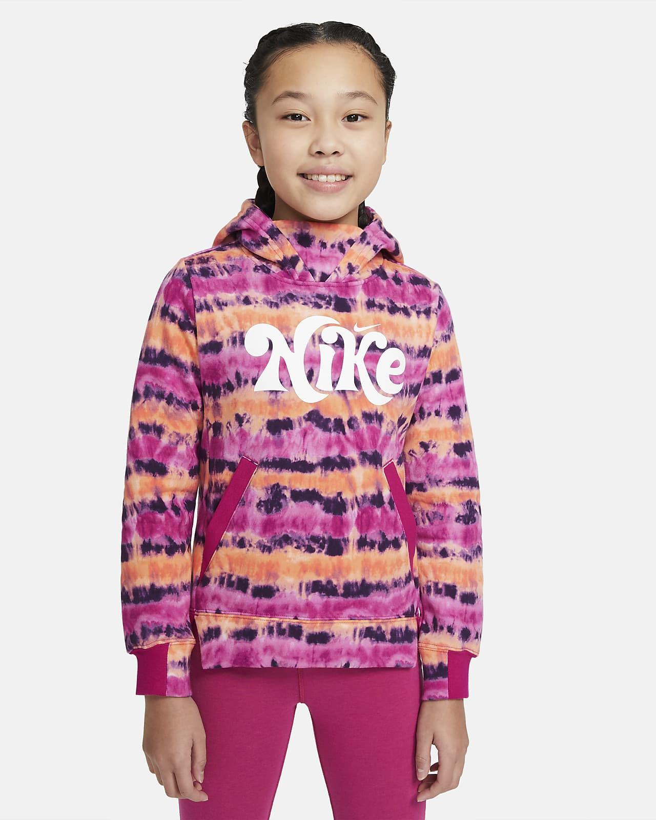 Sudadera con capucha sin cierre de teñido batik para niña talla grande Nike Sportswear
