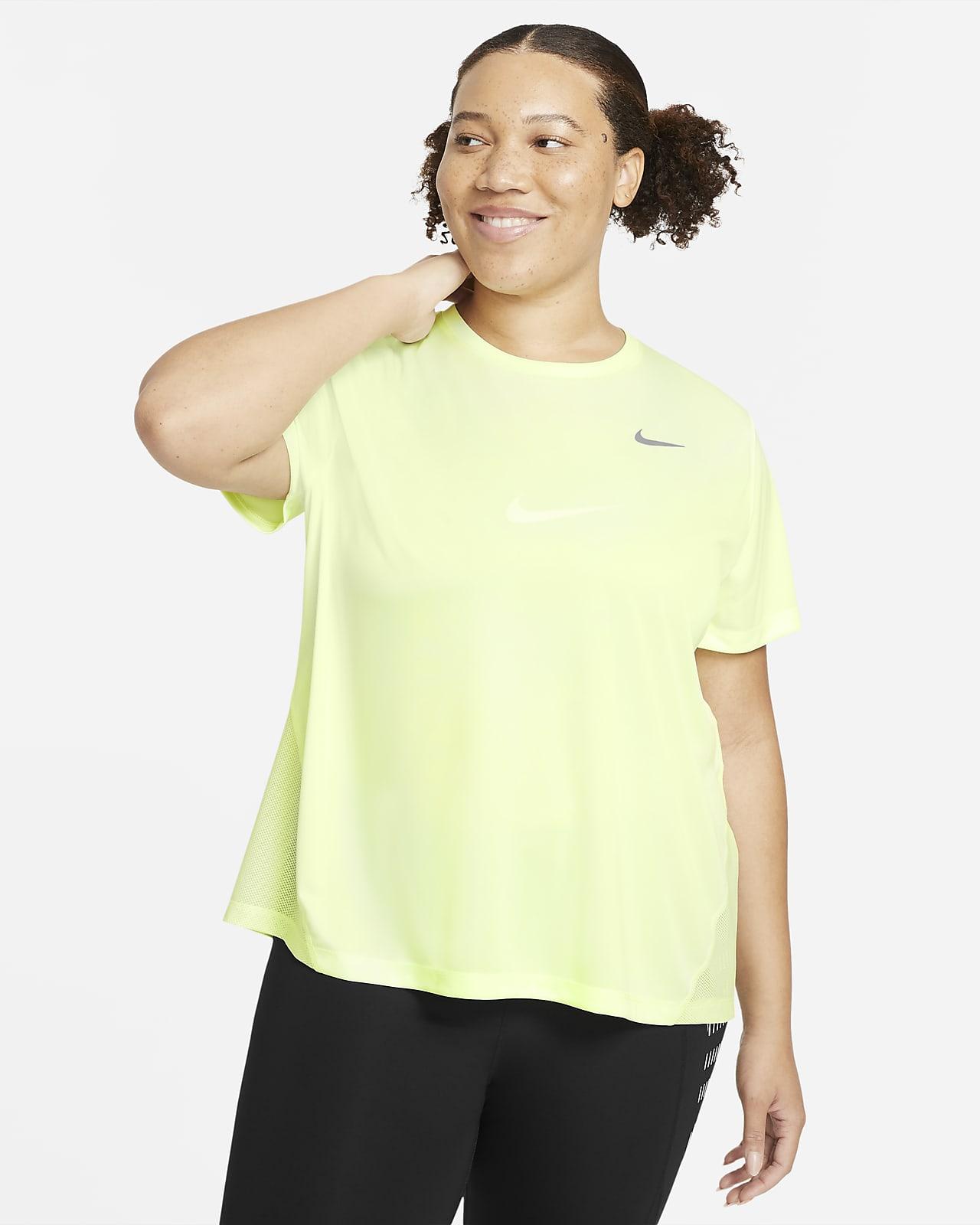 Nike Miler kortermet løpeoverdel til dame (store størrelser)