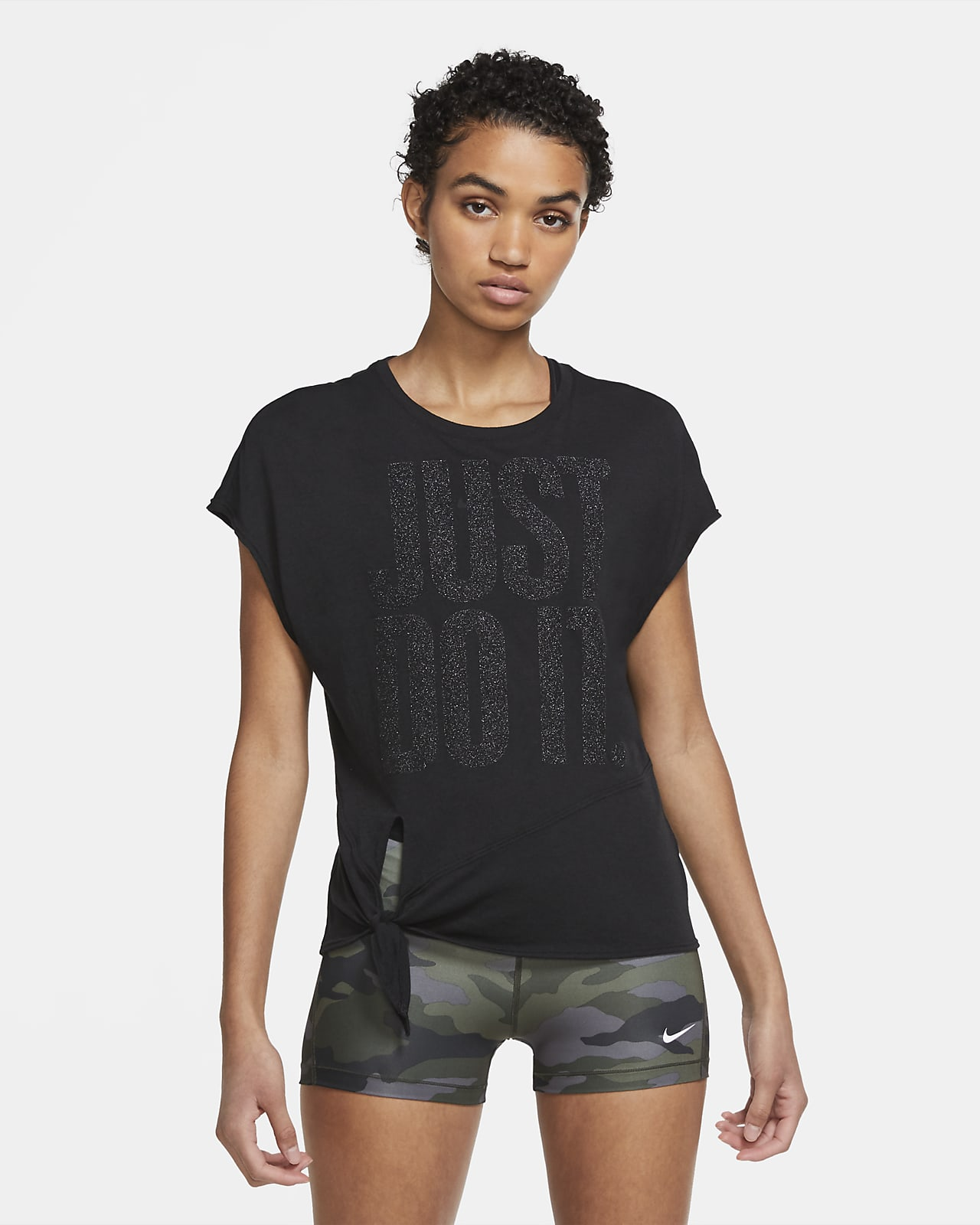Женская футболка для тренинга на завязках с блестящим покрытием Nike Dri-FIT