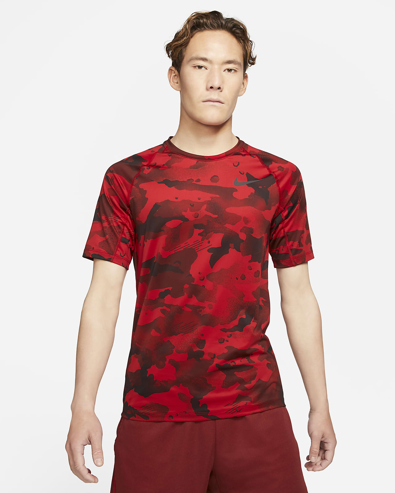 Prenda superior de manga corta para hombre Nike Pro Camo