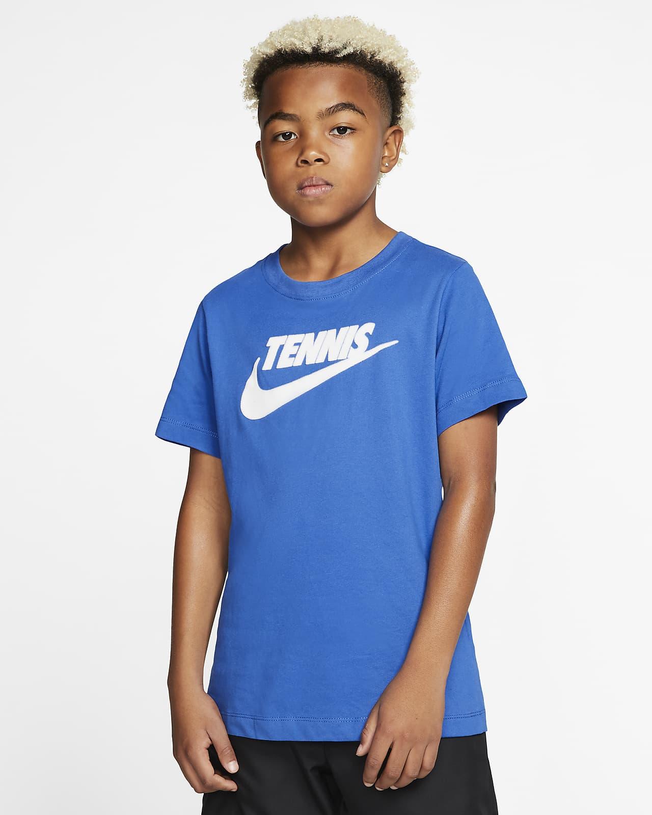T-shirt de ténis com estampado NikeCourt Dri-FIT Júnior (Rapaz)