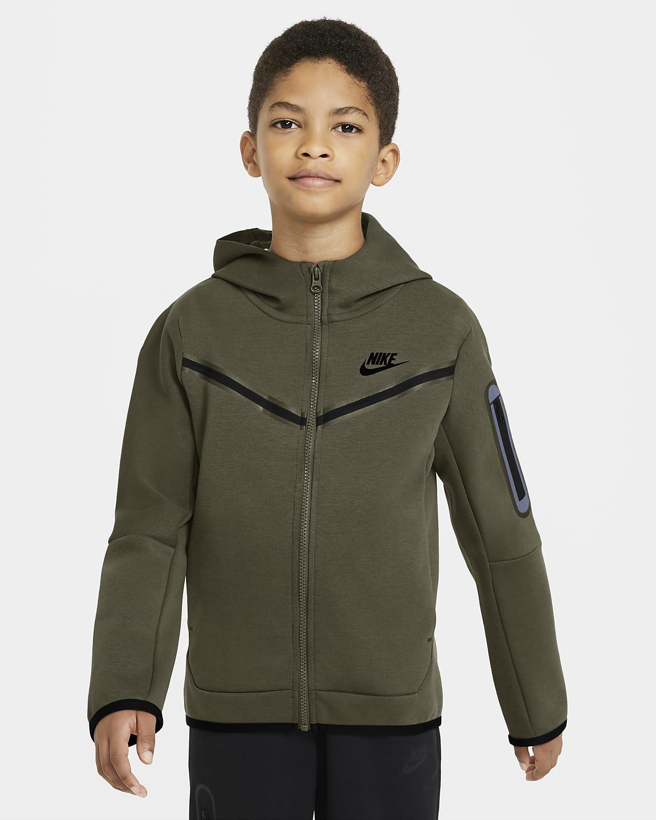Mikina Nike Sportswear Tech Fleece s kapucí a dlouhým zipem pro větší děti (chlapce)