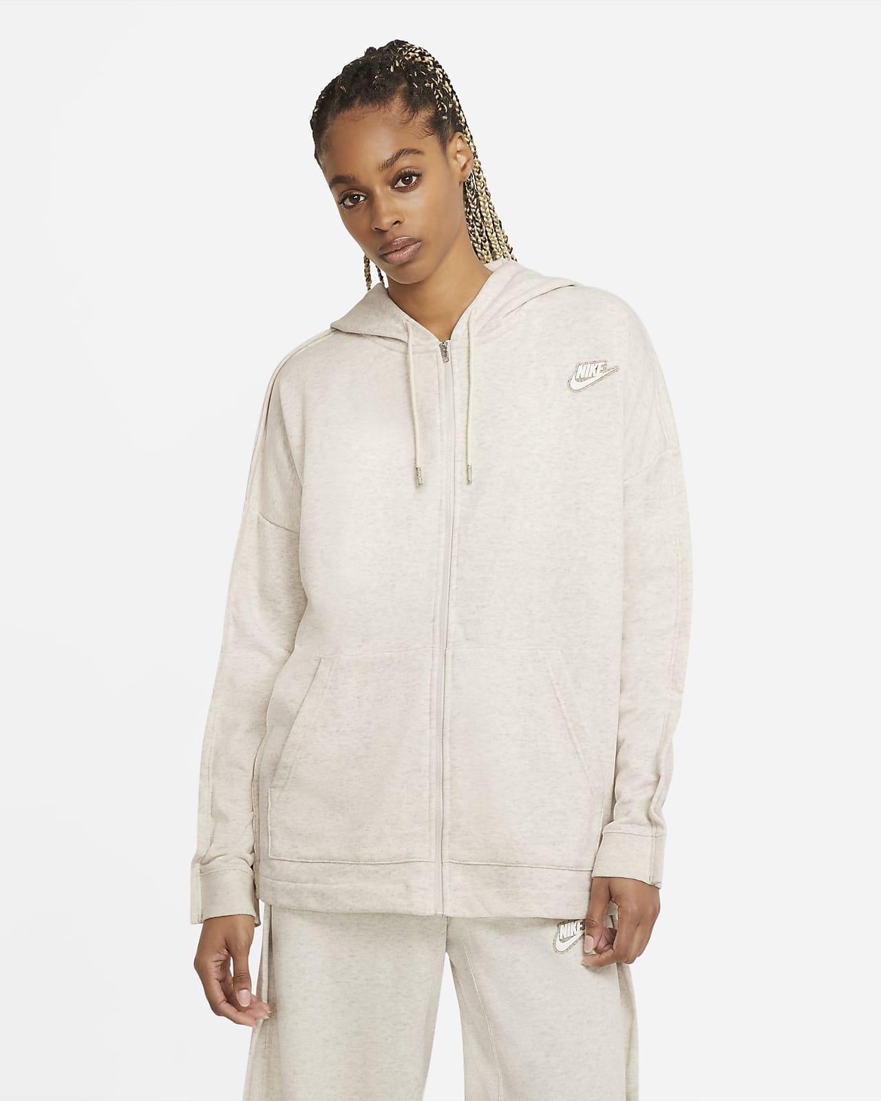 Nike Sportswear-frottéhættetrøje med lynlås til kvinder