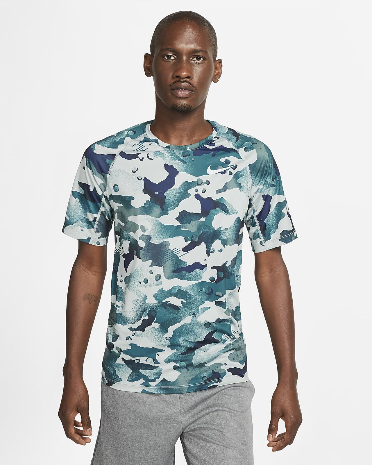 Ανδρική κοντομάνικη μπλούζα με μοτίβο παραλλαγής Nike Pro