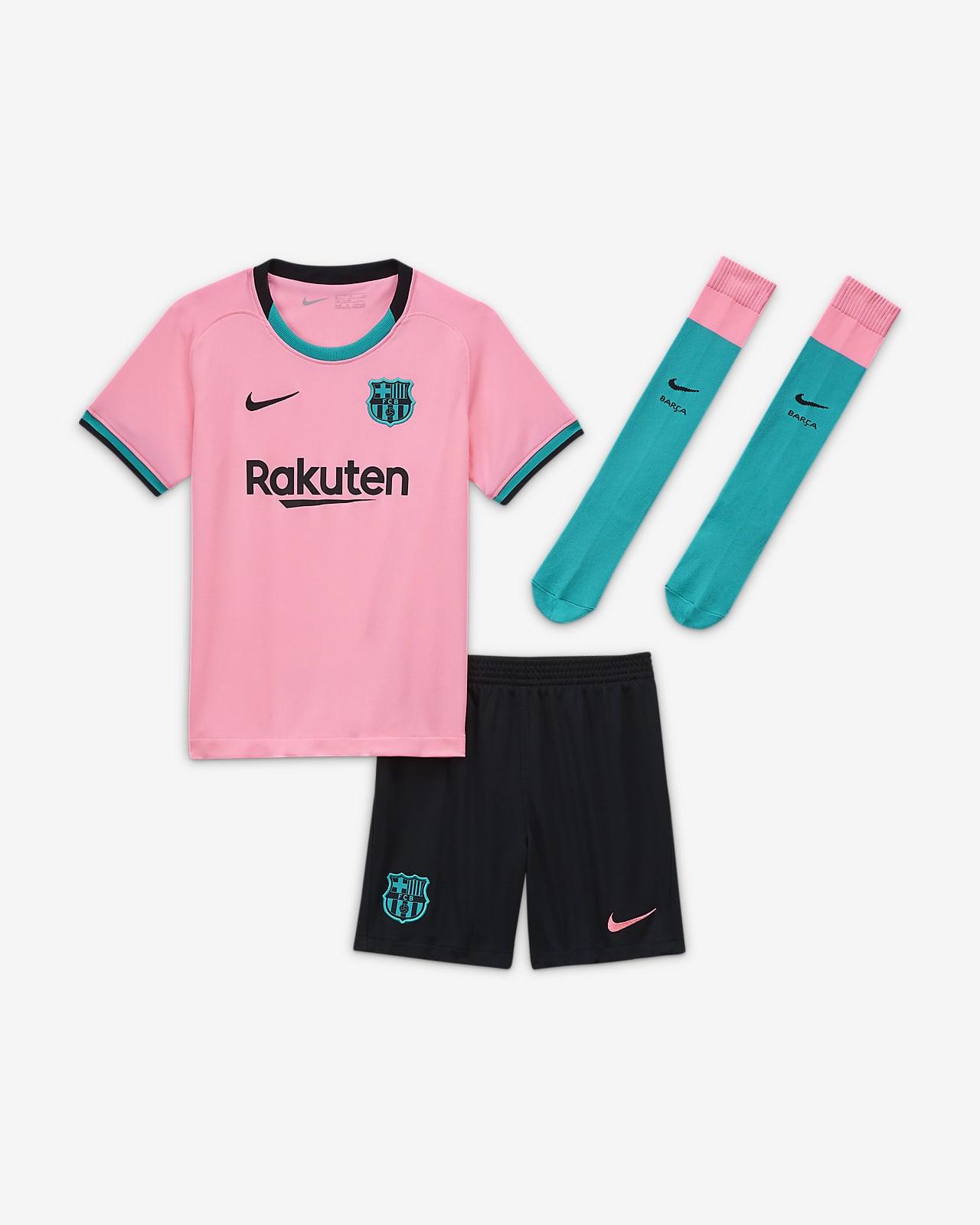 Kit de fútbol alternativo para niños talla pequeña del FC Barcelona 2020/21