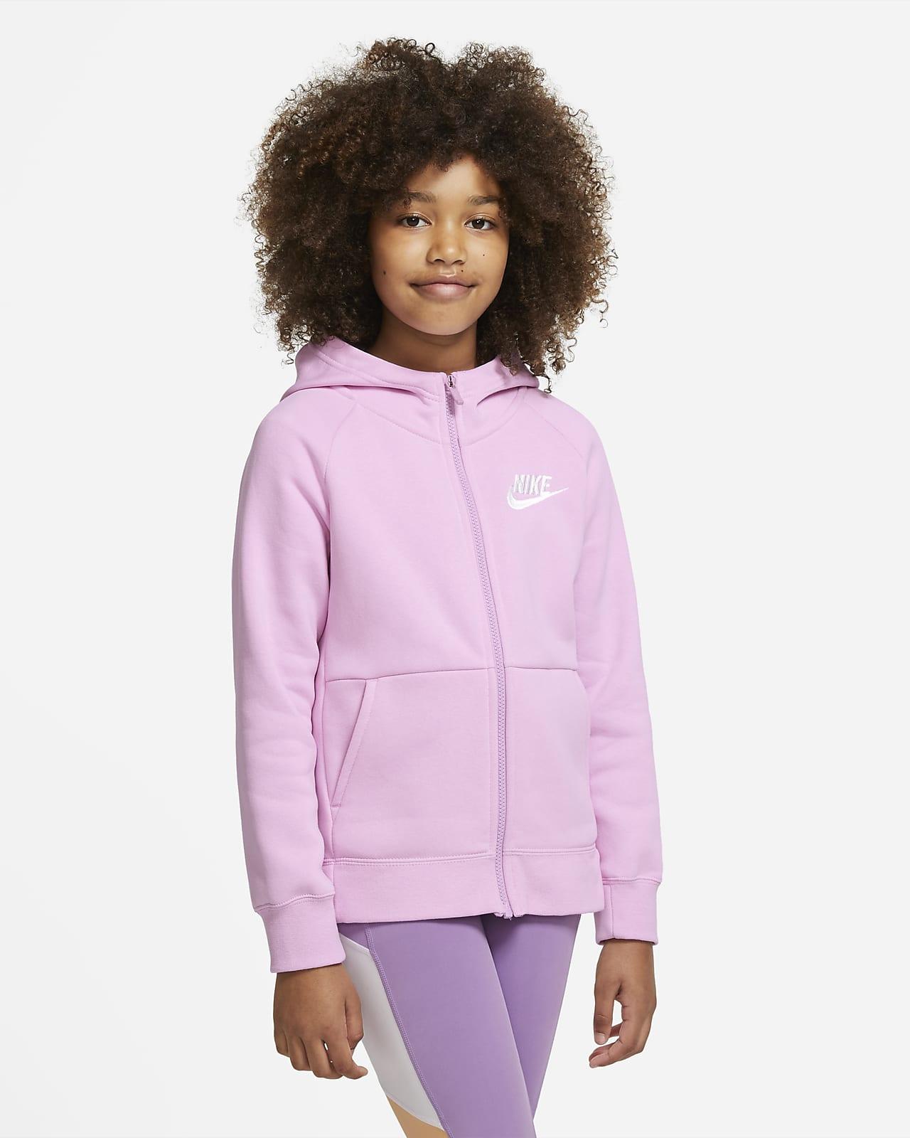 Dívčí mikina Nike Sportswear s kapucí a dlouhým zipem