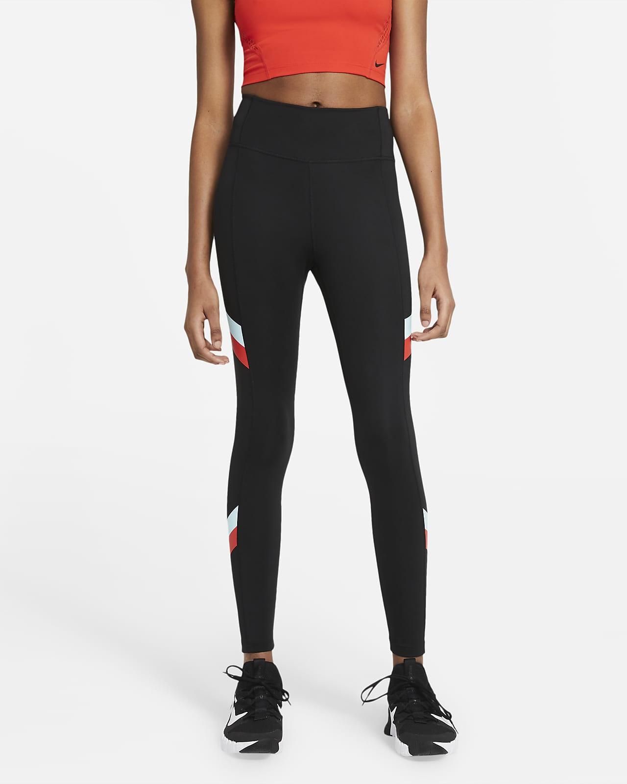 Nike One Normal Belli 7/8 Renk Bloklu Çizgili Kadın Taytı
