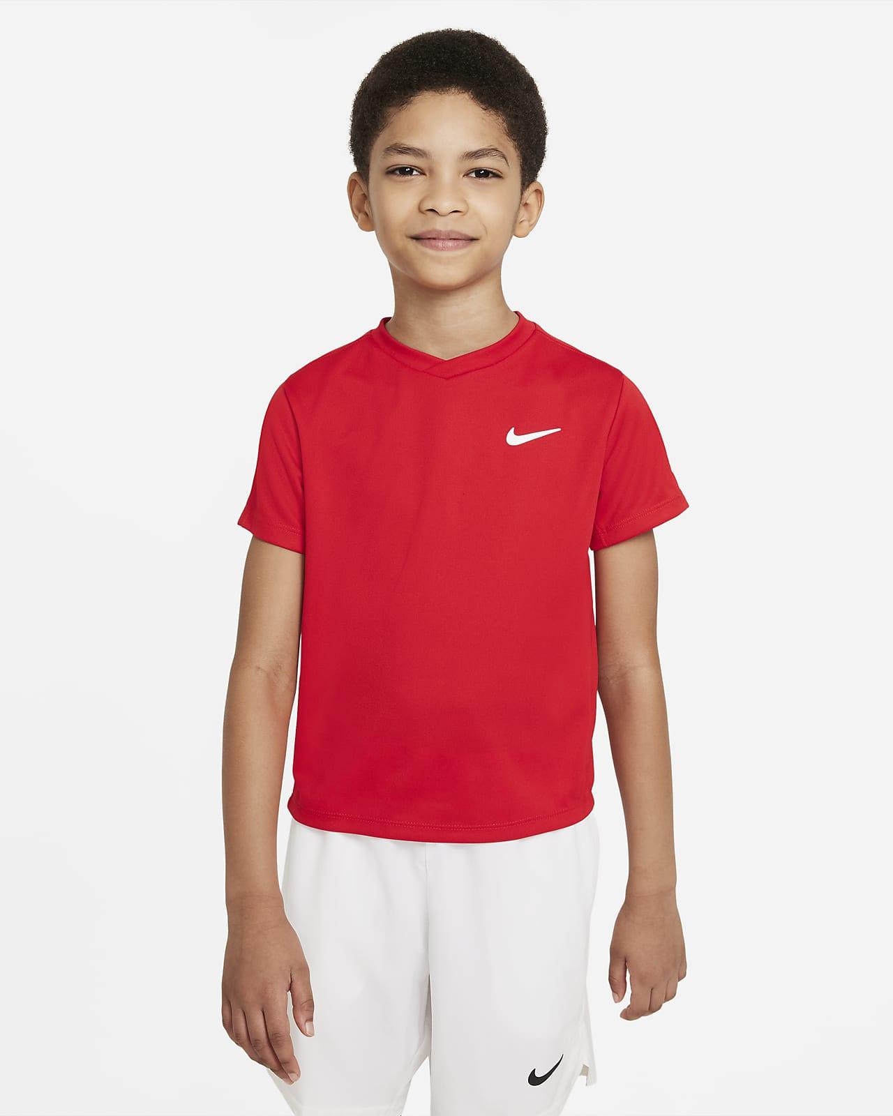 Prenda para la parte superior de tenis de manga corta para niño talla grande NikeCourt Dri-FIT Victory