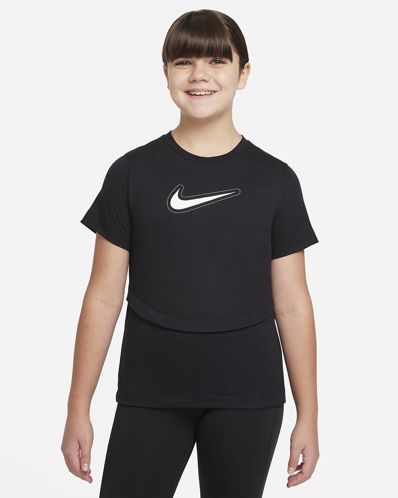 Camiseta de entrenamiento de manga corta para niña talla grande Nike Dri-FIT Trophy (talla extendida)