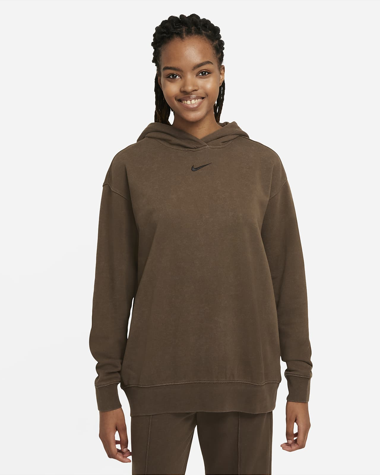 Sweat à capuche en tissu Fleece délavé Nike Sportswear Essential Collection pour Femme