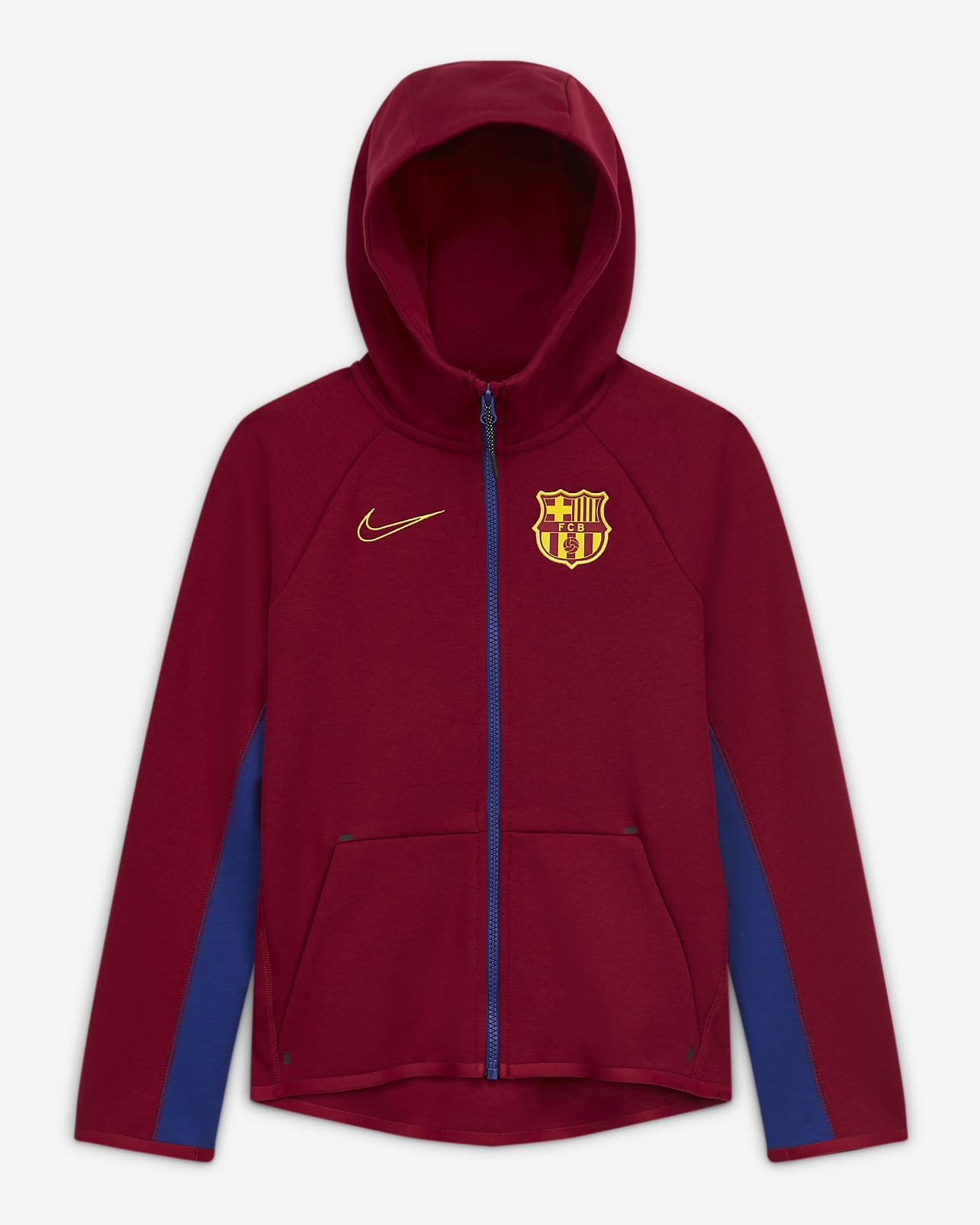 F.C. Barcelona Tech Fleece Older Kids' Full-Zip Football Hoodie