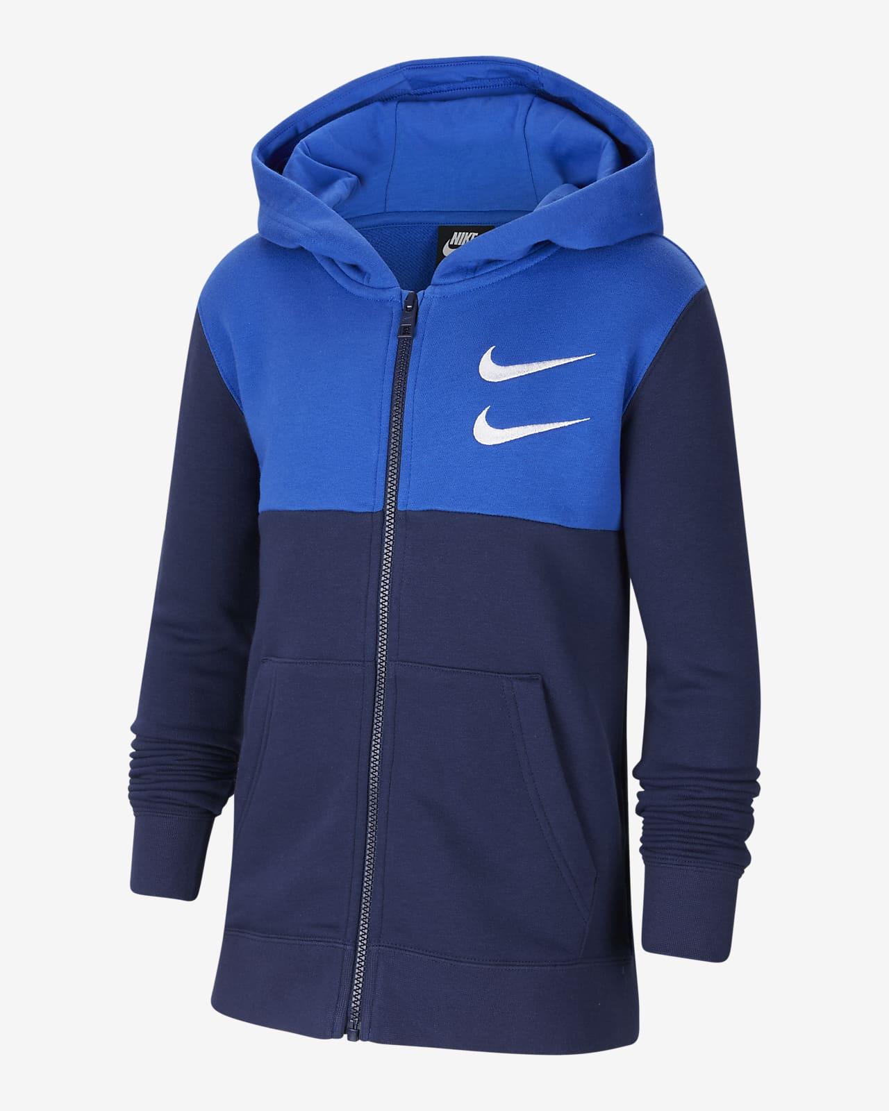 Nike Sportswear Swoosh-hættetrøje med lynlås til store børn (drenge)