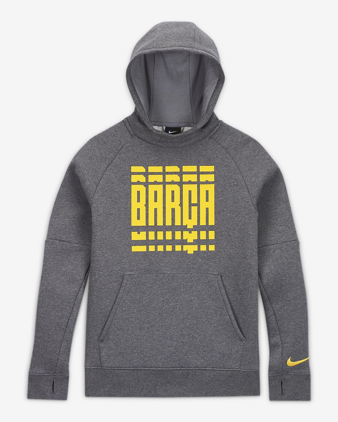 Sudadera de fútbol con capucha y sin cierre de tejido Fleece para niños talla grande FC Barcelona
