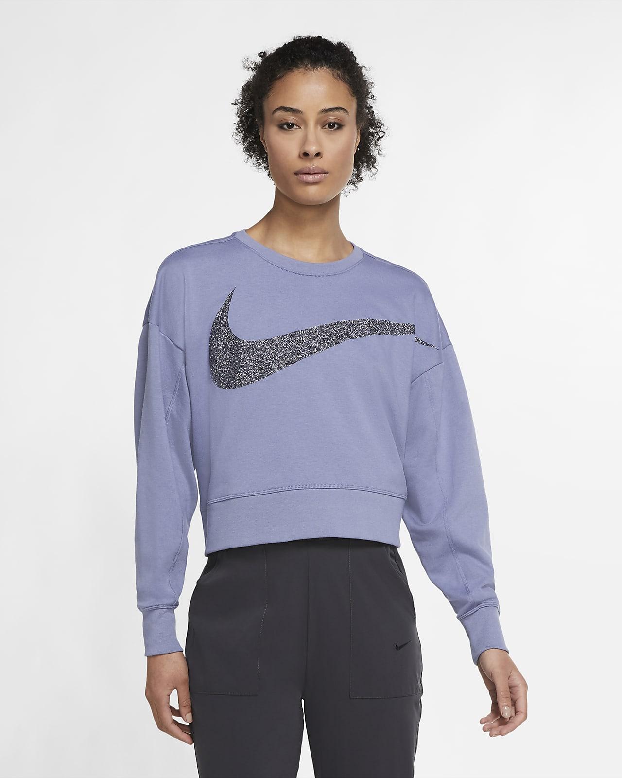 Damska dzianinowa błyszcząca koszulka treningowa Nike Dri-FIT Get Fit