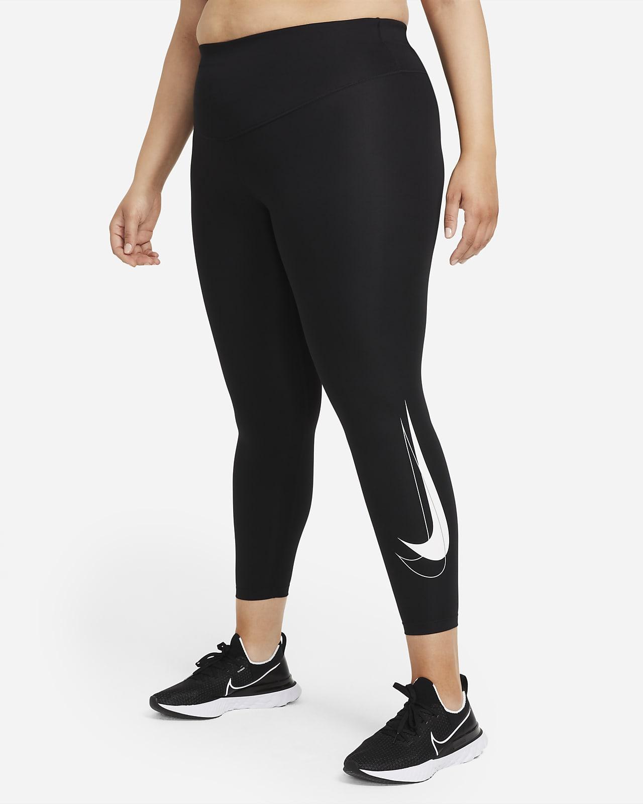Nike Dri-FIT Swoosh Run 7/8-os, középmagas szabású női futóleggings (plus size méret)