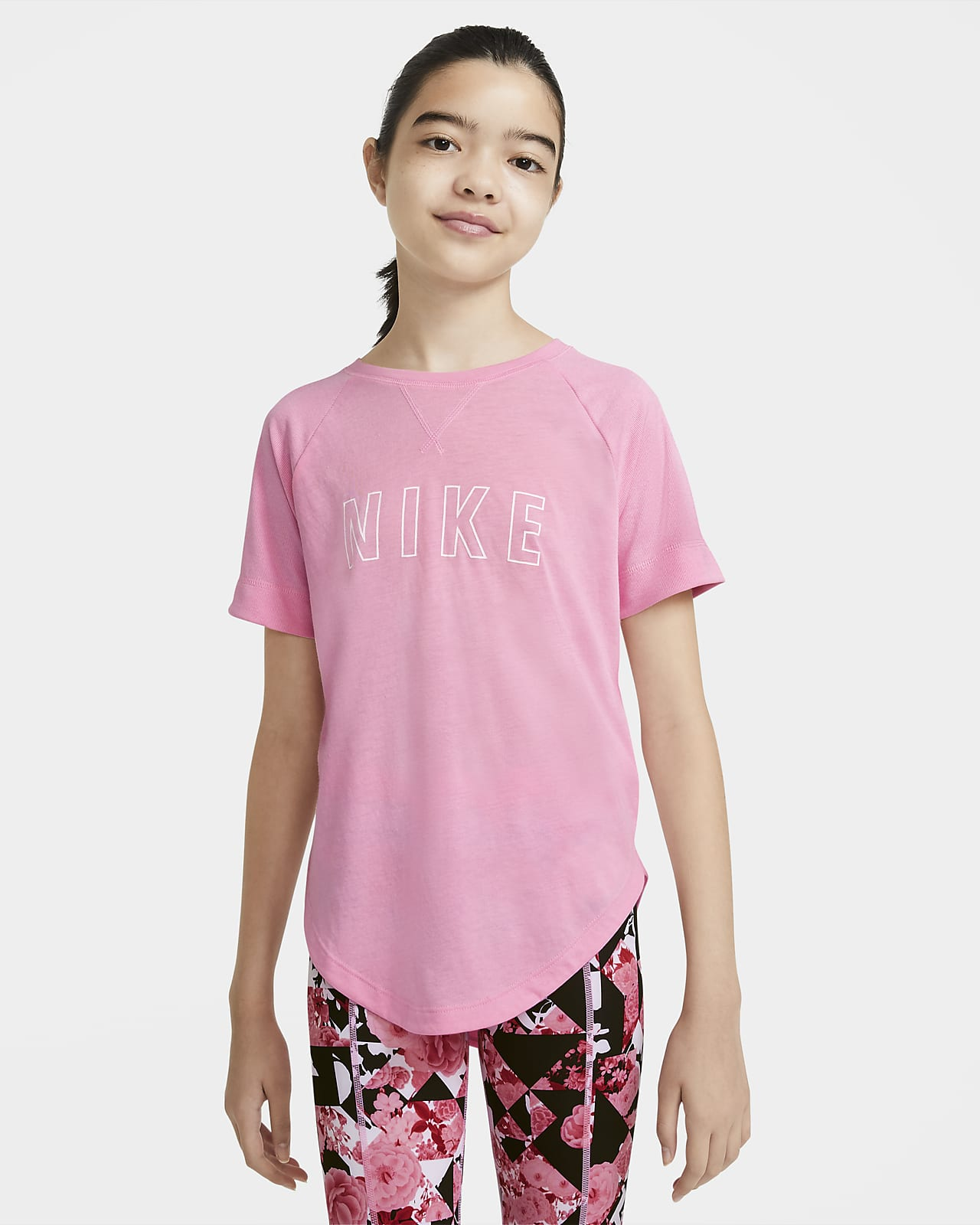 Nike Dri-FIT Trophy Older Kids' (Girls') Graphic Short-Sleeve Training Top