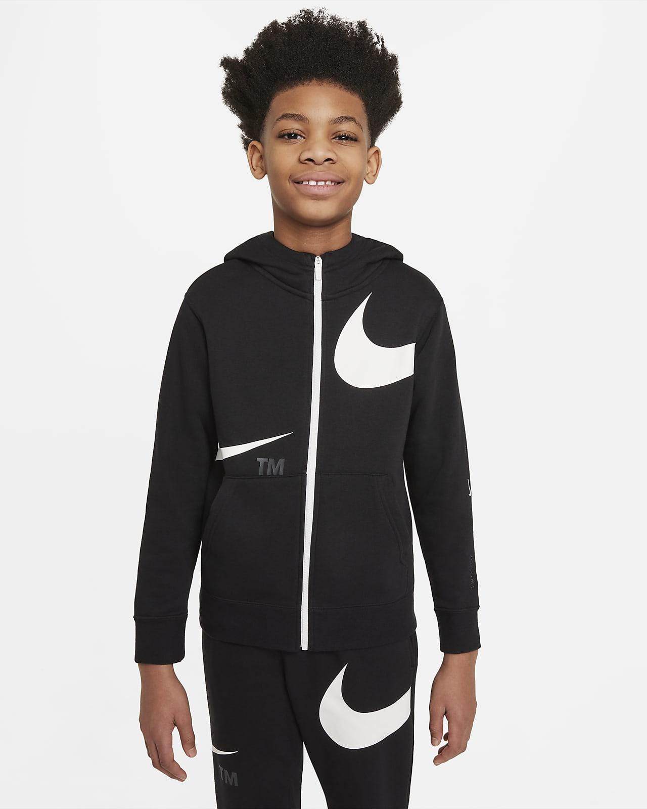 Nike Sportswear Swoosh Tam Boy Fermuarlı Fleece Genç Çocuk (Erkek) Kapüşonlu Üst