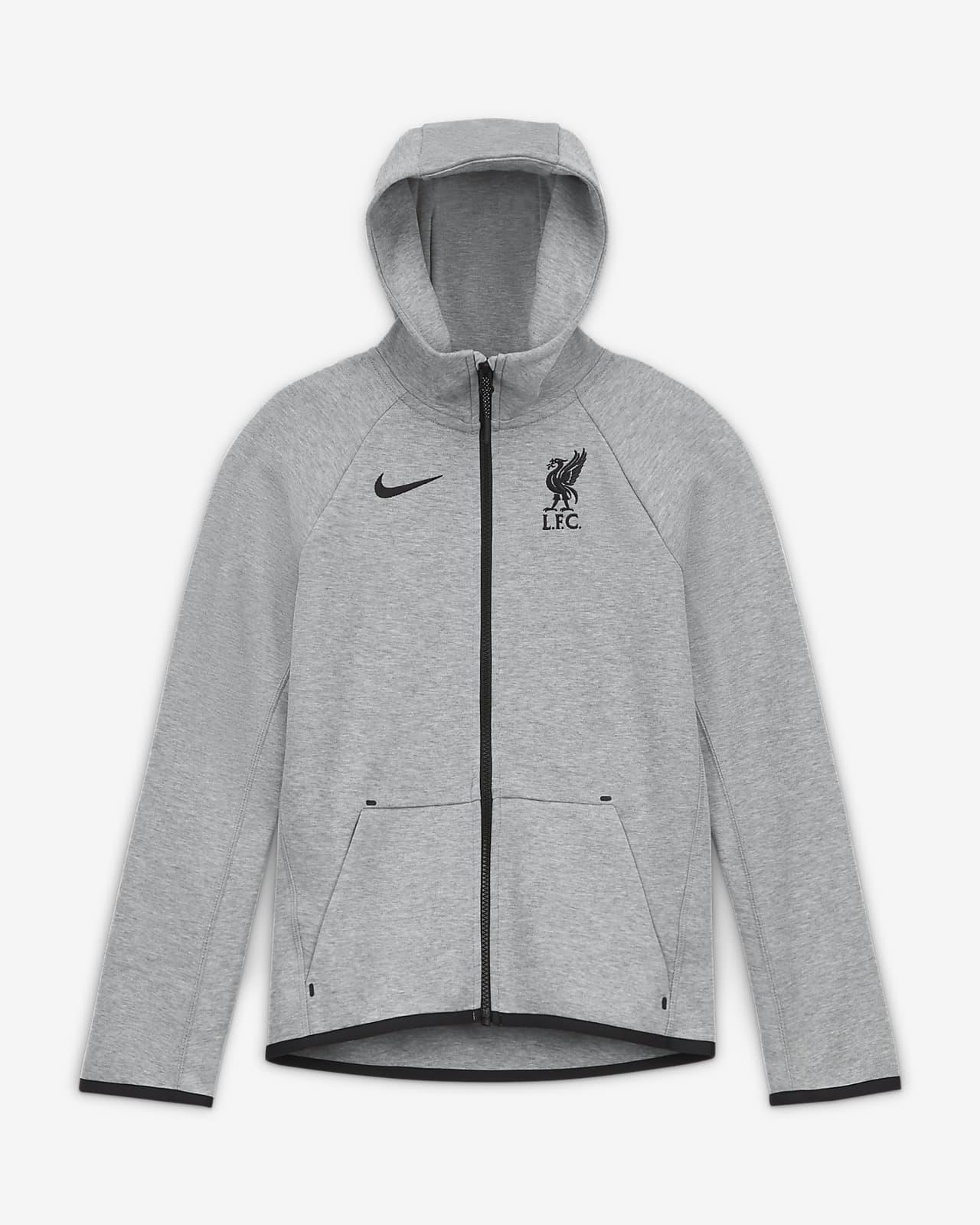 Sudadera con capucha de cierre completo para fútbol para niños talla grande Liverpool FC Tech Fleece