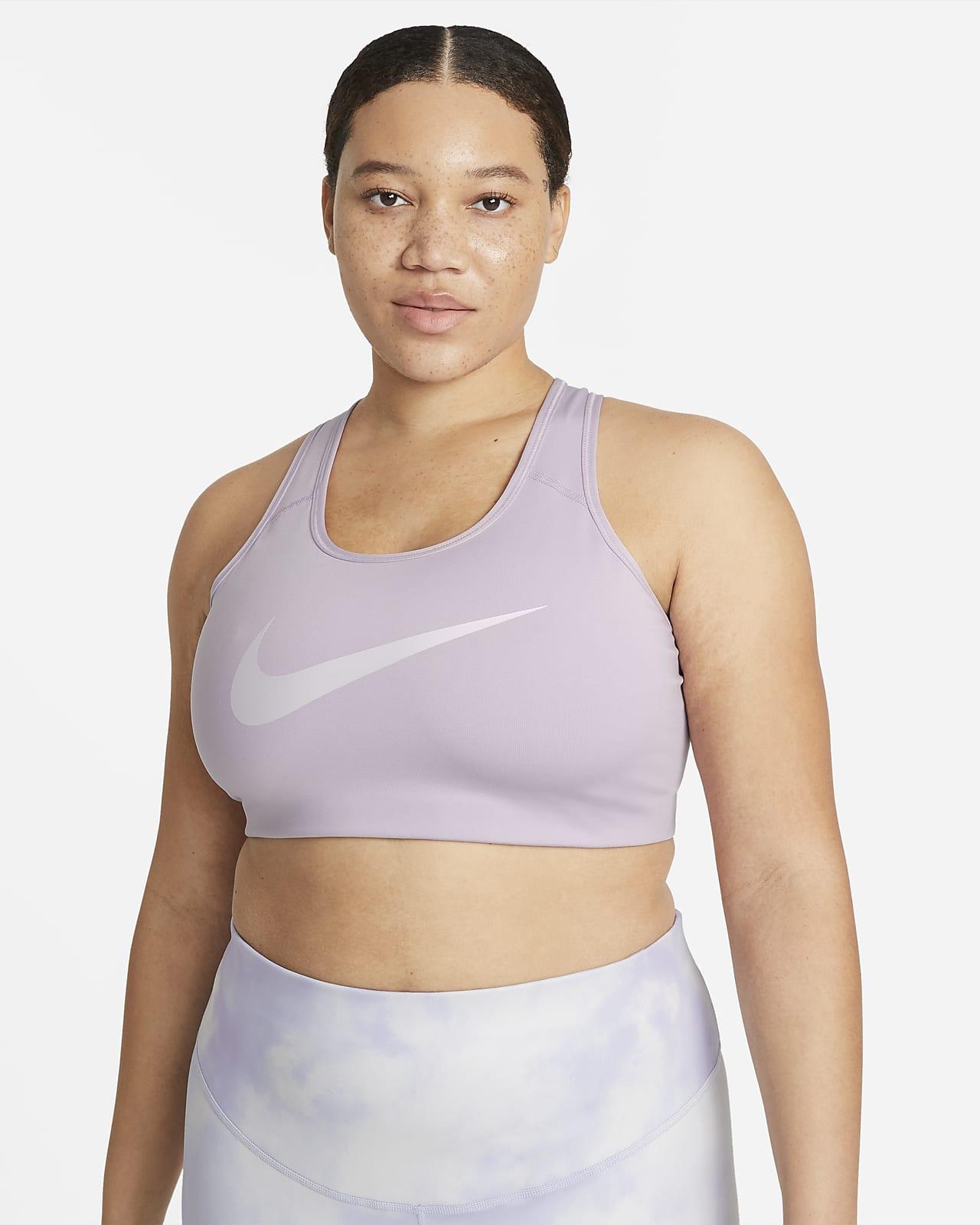 Ovadderad sport-BH Nike Swoosh Icon Clash med mediumstöd och grafik för kvinnor (Plus Size)