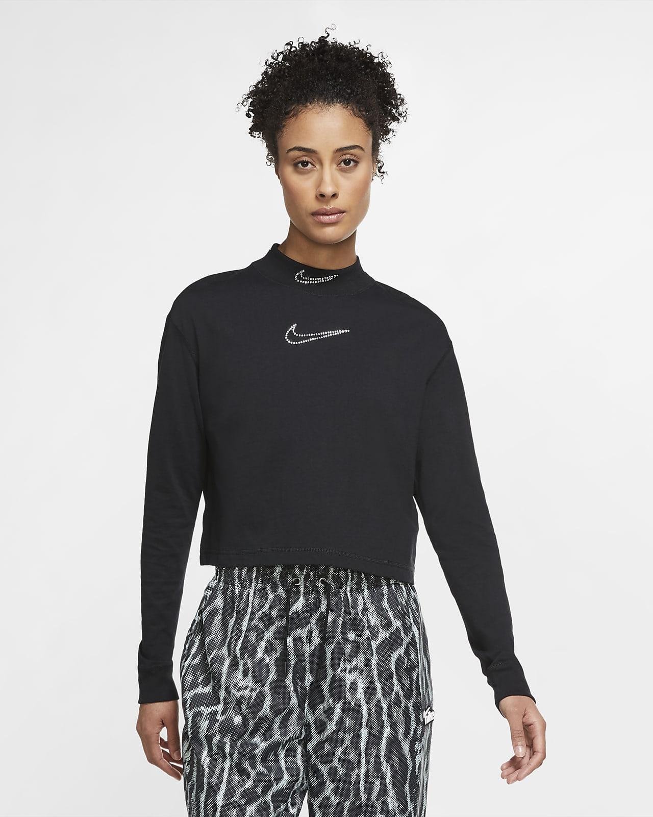 Nike Sportswear Rhinestone Women's Long-Sleeve Cropped T-Shirt