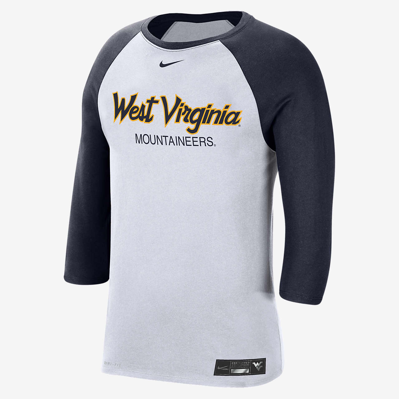 Nike College Dri-FIT (West Virginia) Men's 3/4-Sleeve T-Shirt