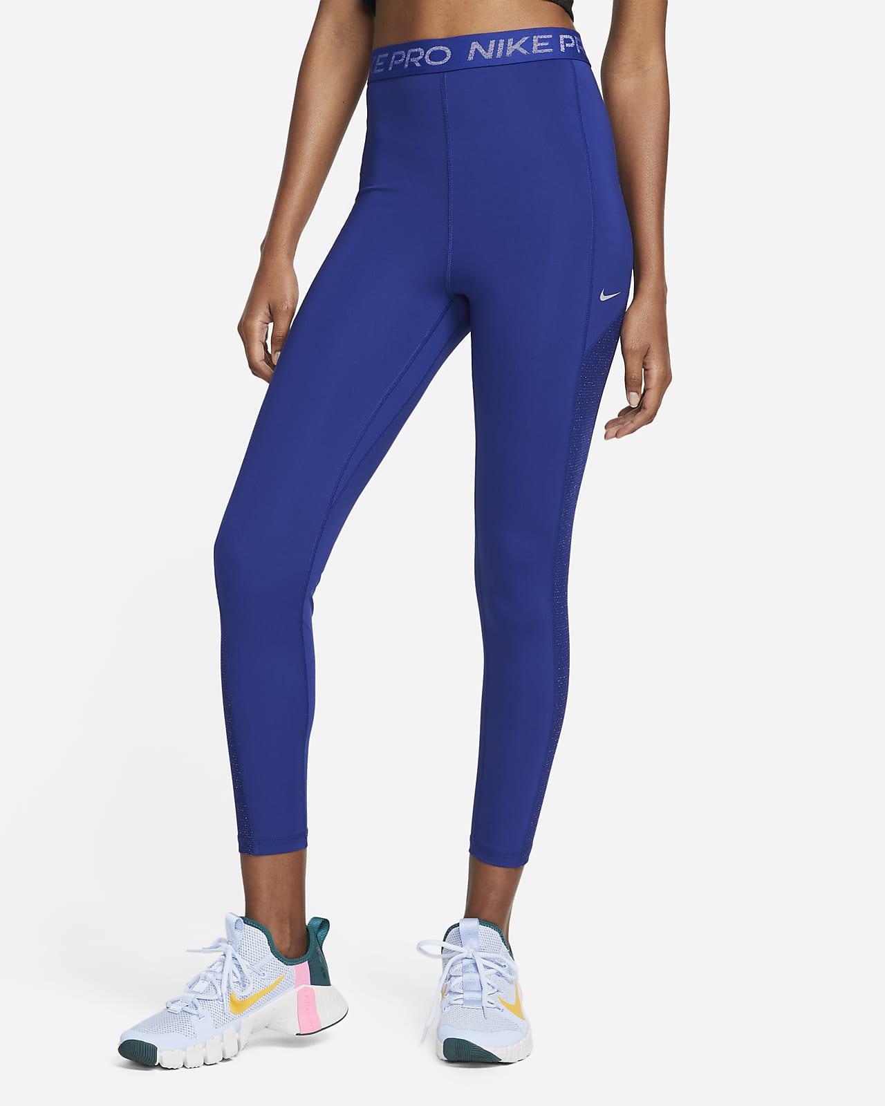 Glänsande leggings i 7/8-längd med hög midja Nike Pro Dri-FIT för kivnnor