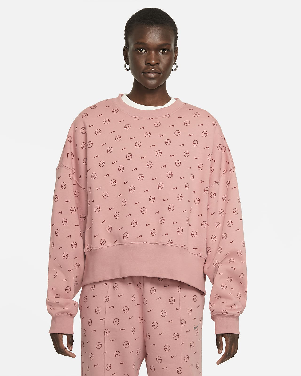 Nike Sportswear Fleece-Rundhalsshirt mit Print für Damen