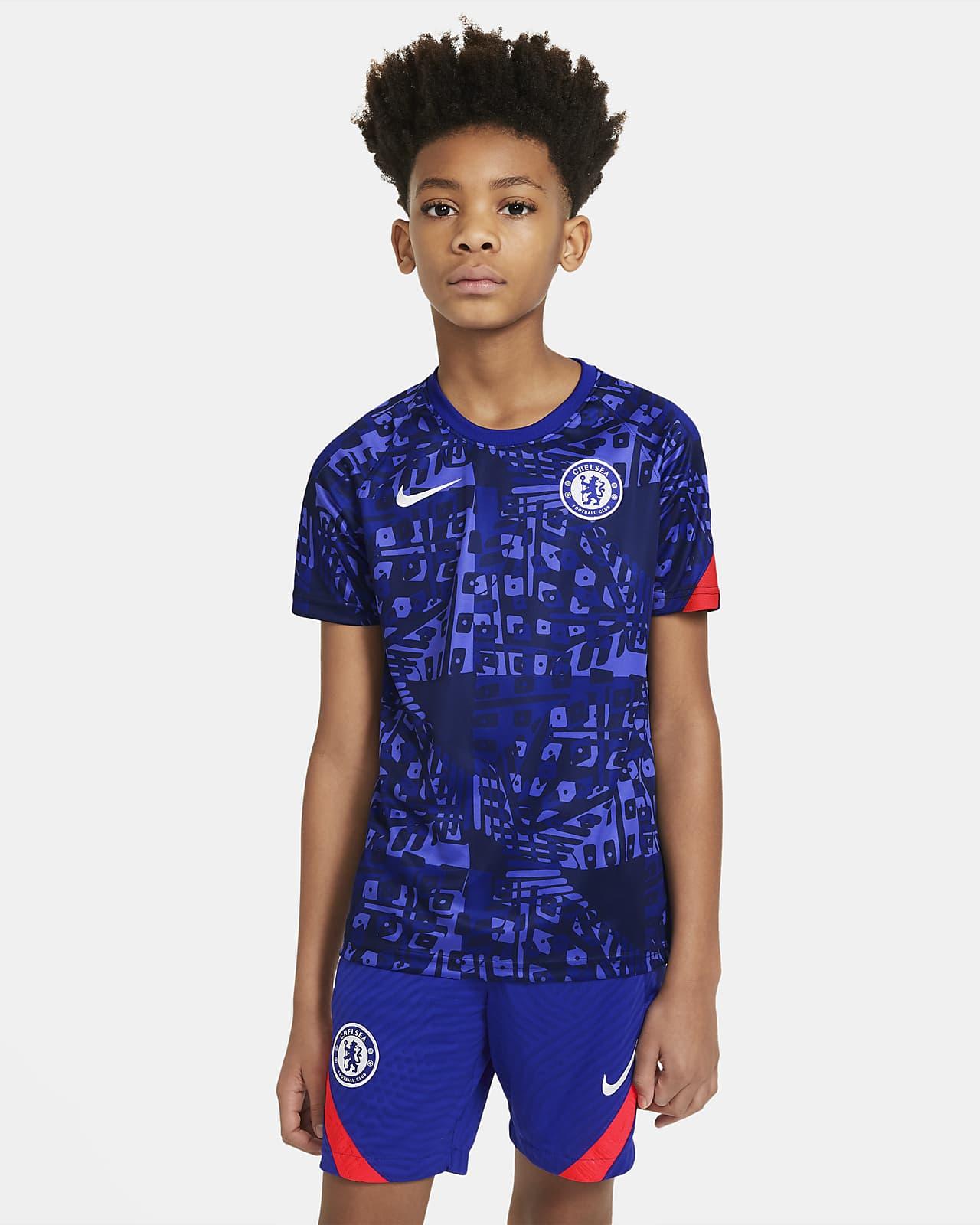 Haut de football pré-match à manches courtes Chelsea FC pour Enfant plus âgé