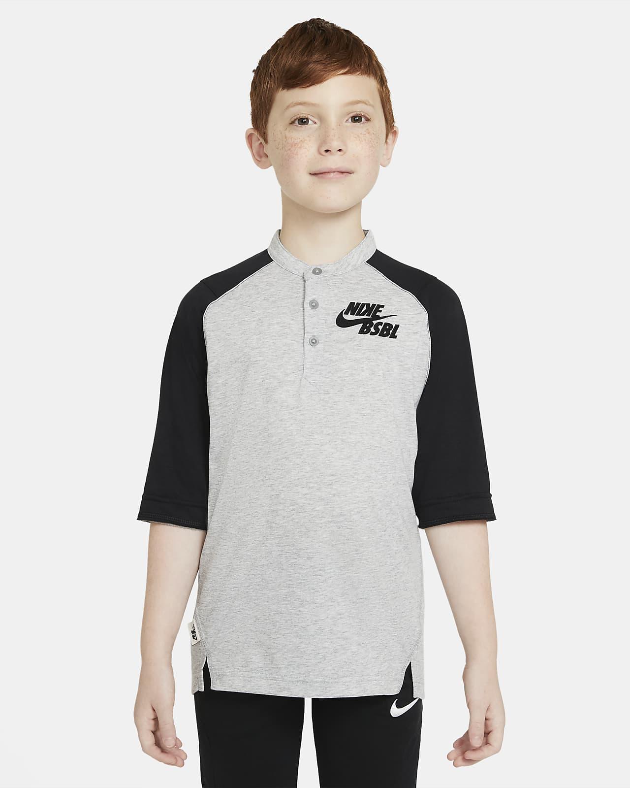 Camiseta de béisbol de manga 3/4 para niño talla grande Nike Dri-FIT Flux