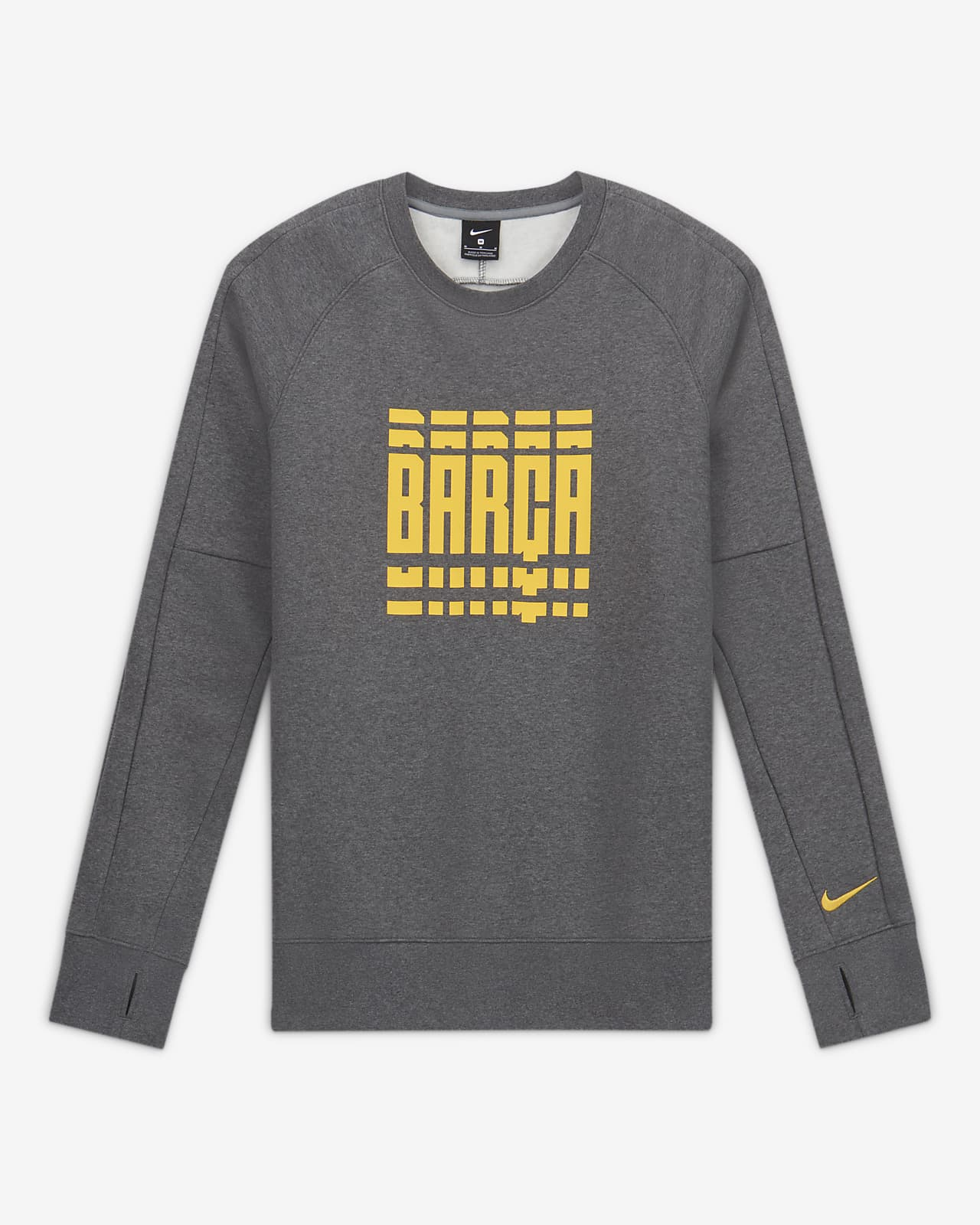 FC Barcelona Men's Fleece Long-Sleeve Soccer Crew