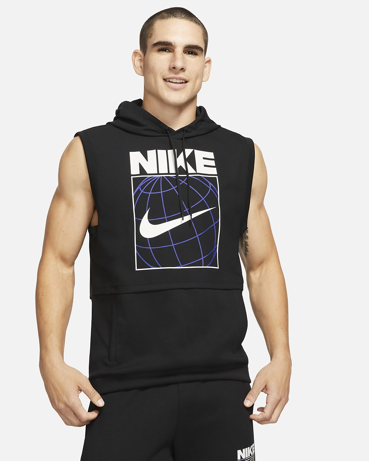 Nike Dri-FIT ermeløs treningshettegenser med grafikk til herre