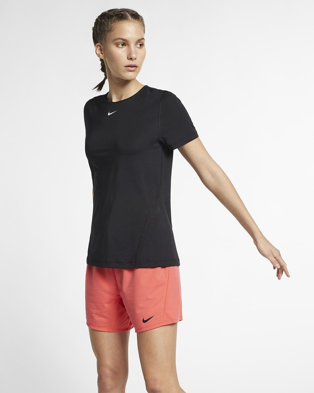 Kortærmet Nike Pro-træningsoverdel til kvinder