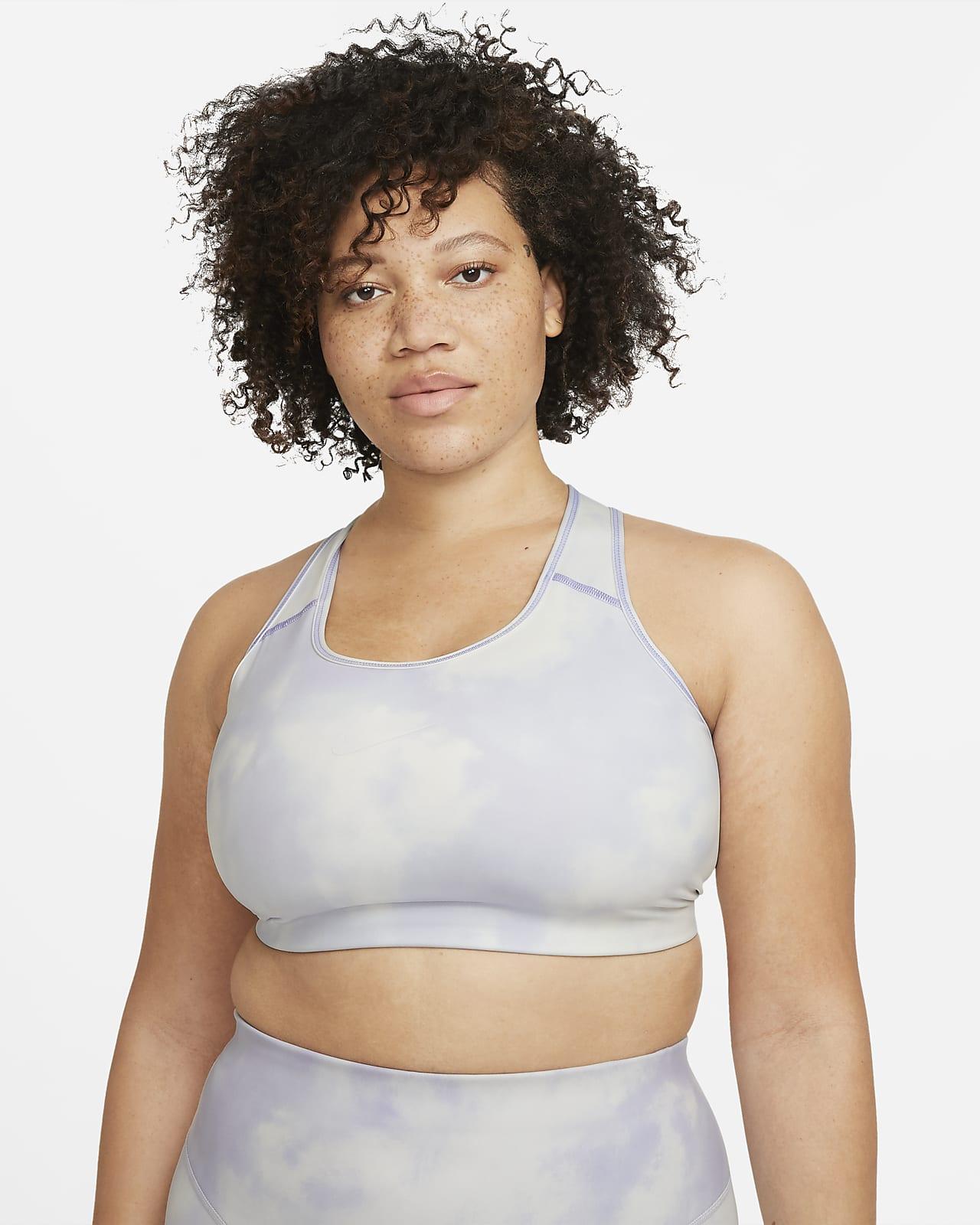 Nike Dri-FIT Swoosh Icon Clash Sport-BH mit mittlerem Halt und Print ohne Polster für Damen (große Größe)