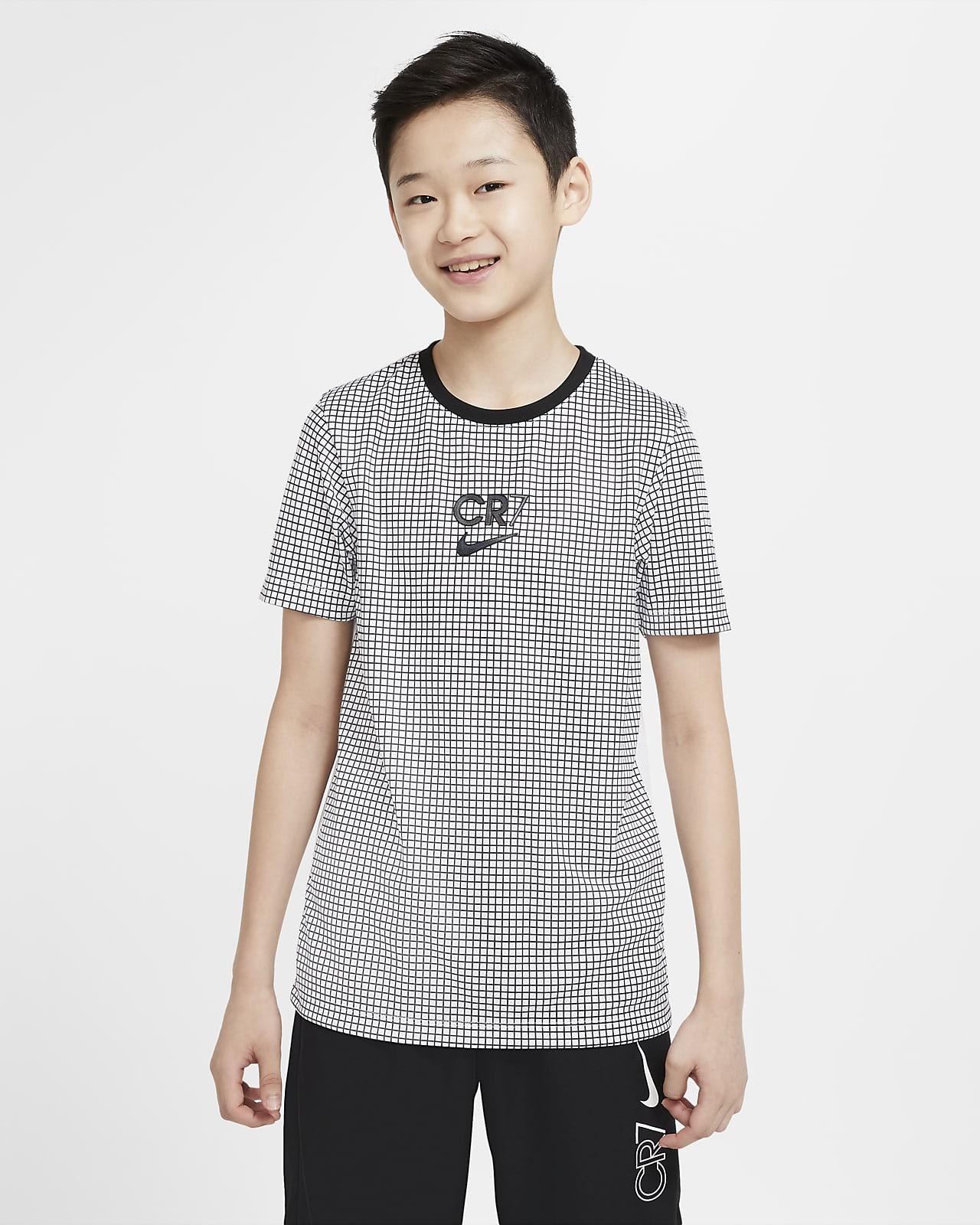 Nike Dri-FIT CR7-fodboldoverdel med korte ærmer til store børn
