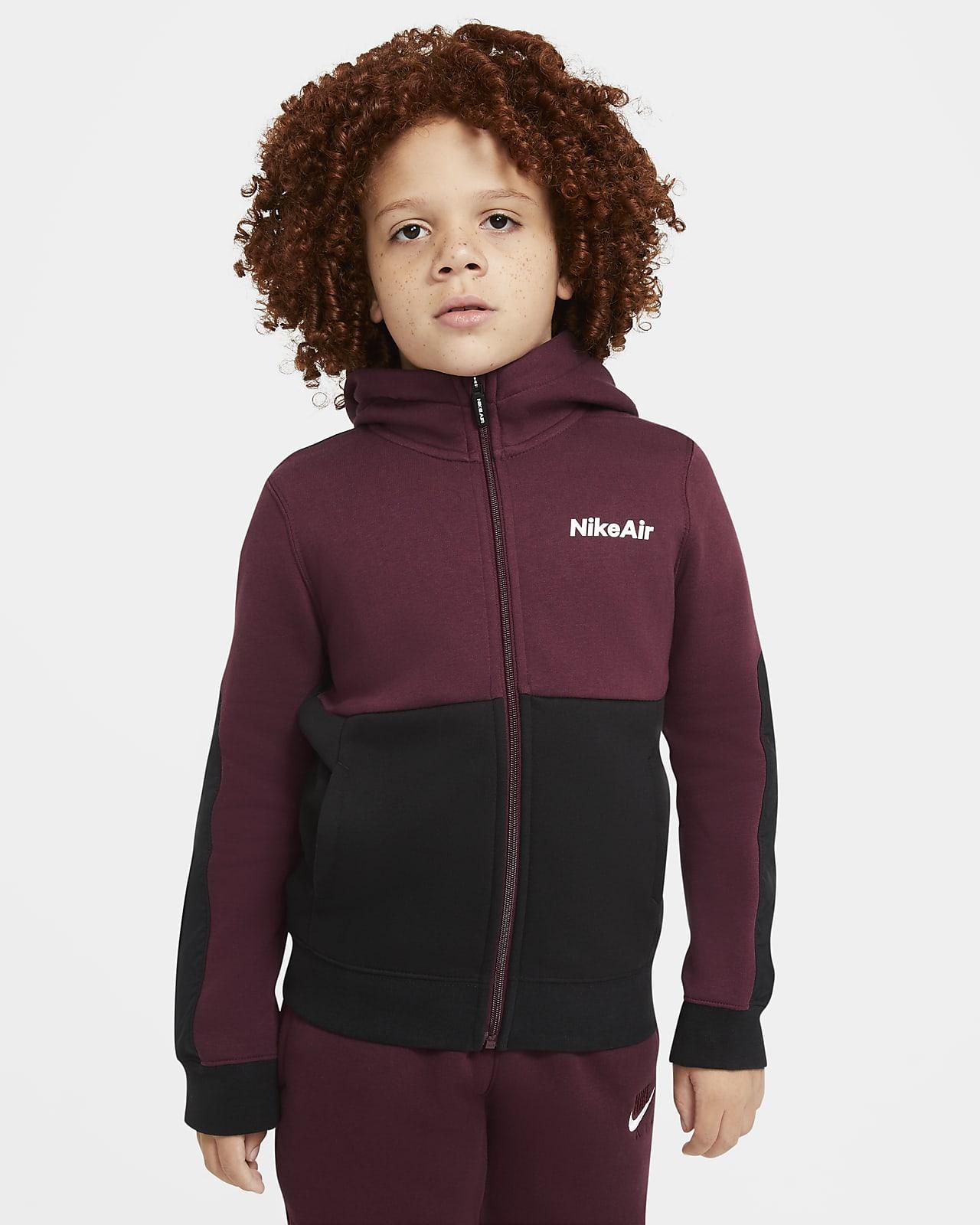 Bluza z kapturem i zamkiem na całej długości dla dużych dzieci (chłopców) Nike Air
