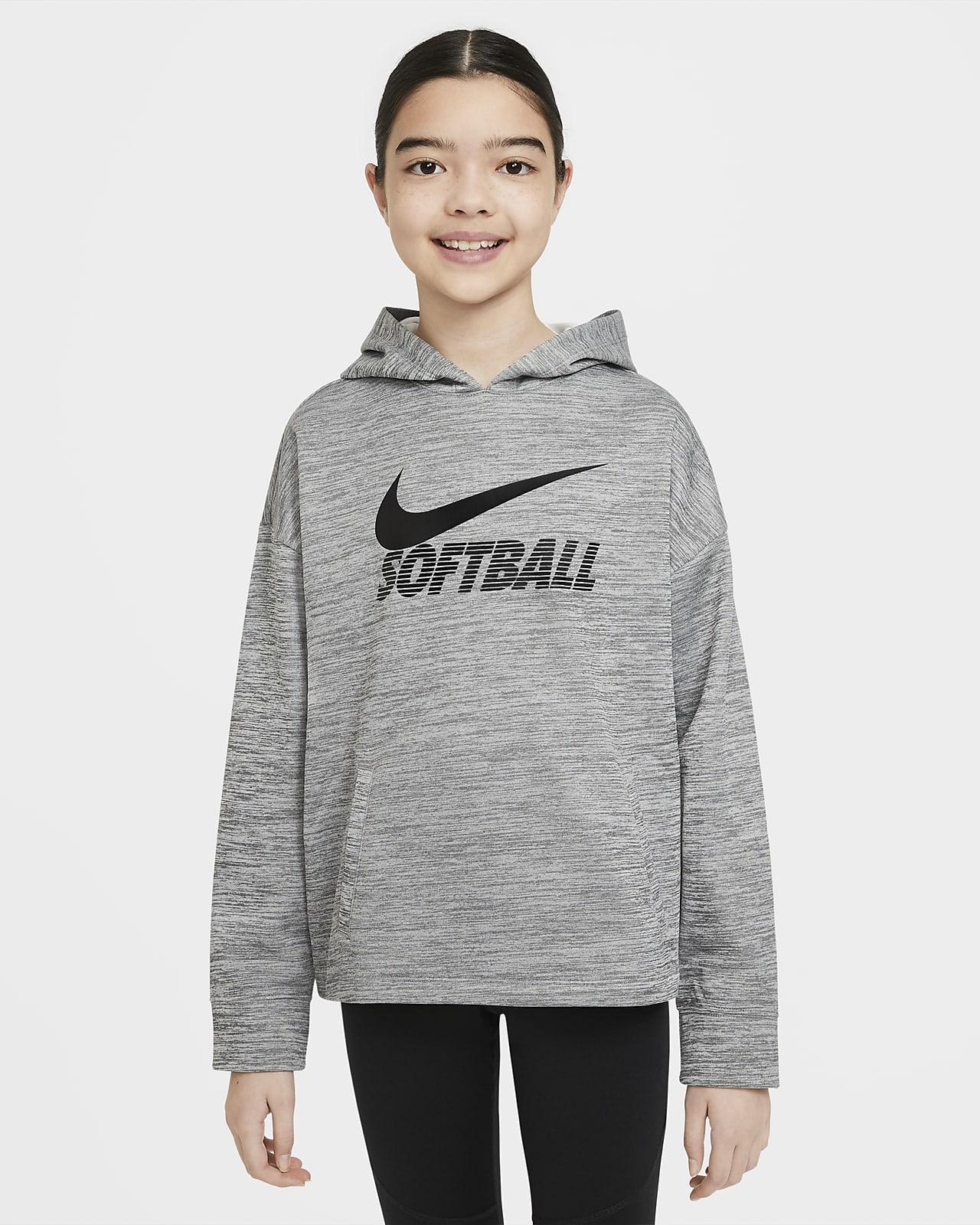 Sudadera con capucha de softball para niñas talla grande Nike Therma