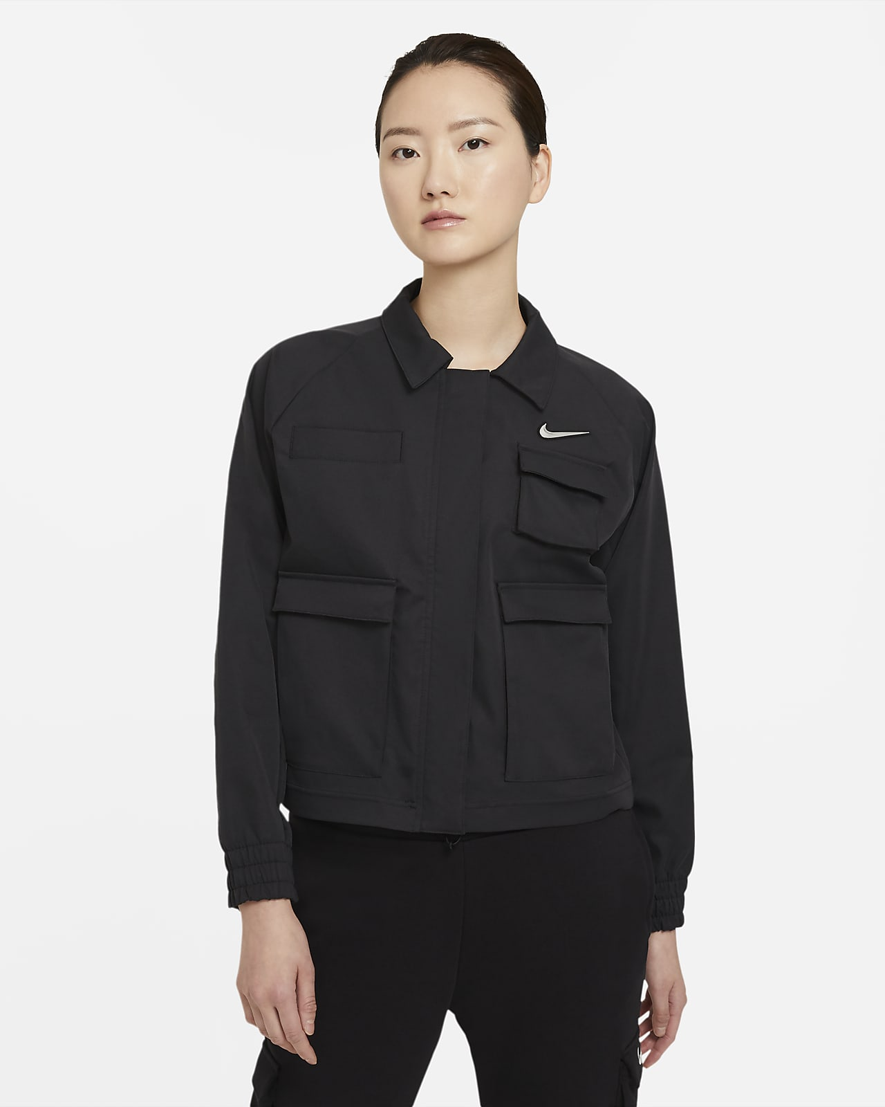 เสื้อแจ็คเก็ตแบบทอผู้หญิง Nike Sportswear Swoosh