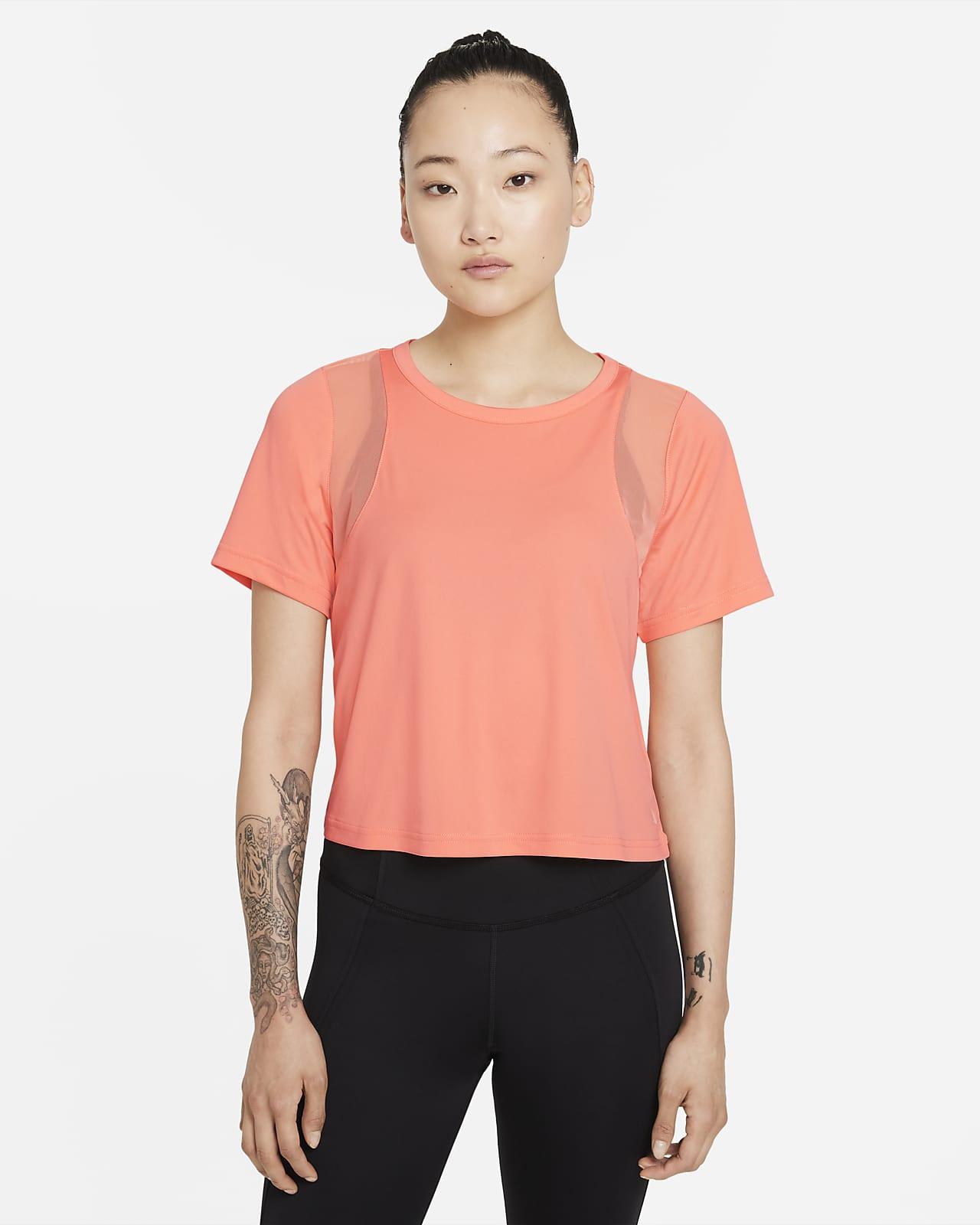 เสื้อตาข่ายแขนสั้นผู้หญิง Nike Yoga Dri-FIT