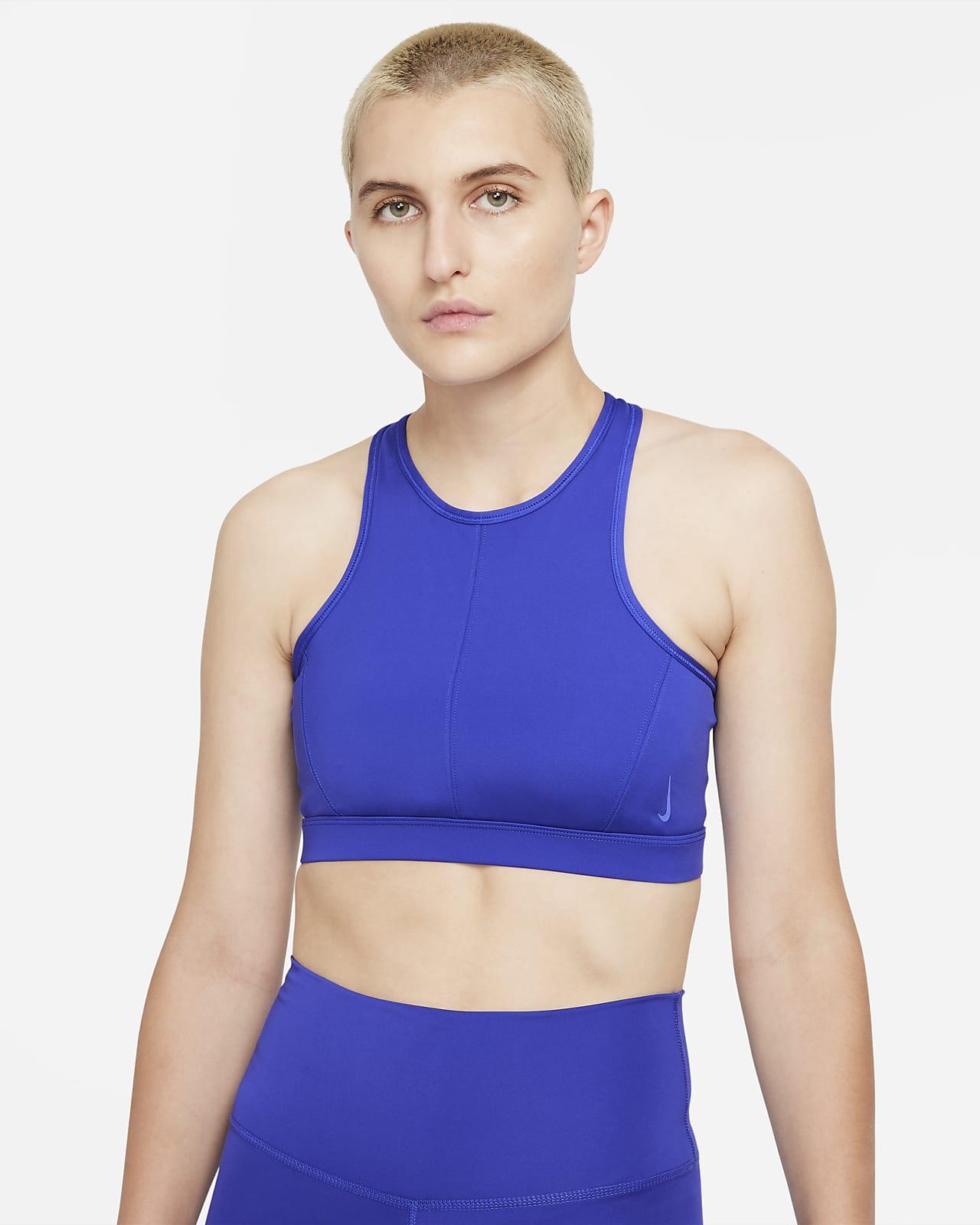 Bra deportivo de cuello alto con almohadilla de una sola pieza de sujeción media para mujer Nike Yoga Dri-FIT Swoosh